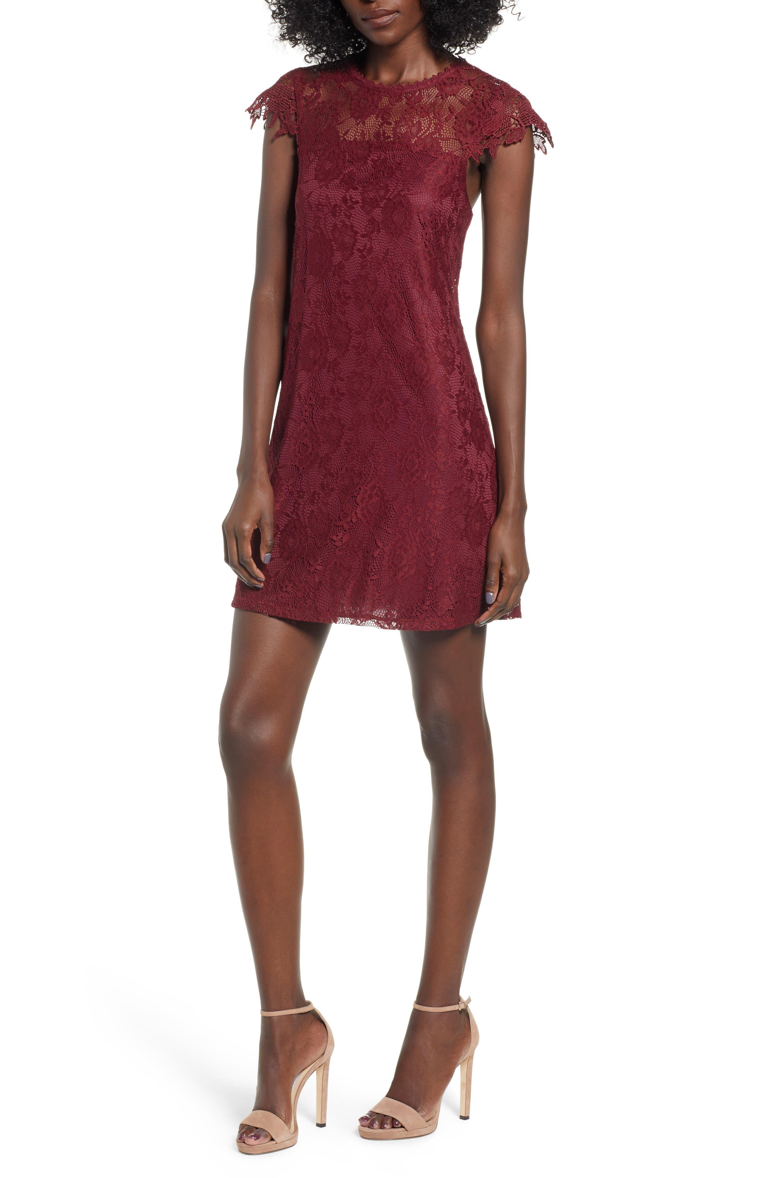 SPEECHLESS Lace Cap Sleeve Sheath, Main, color, WINE