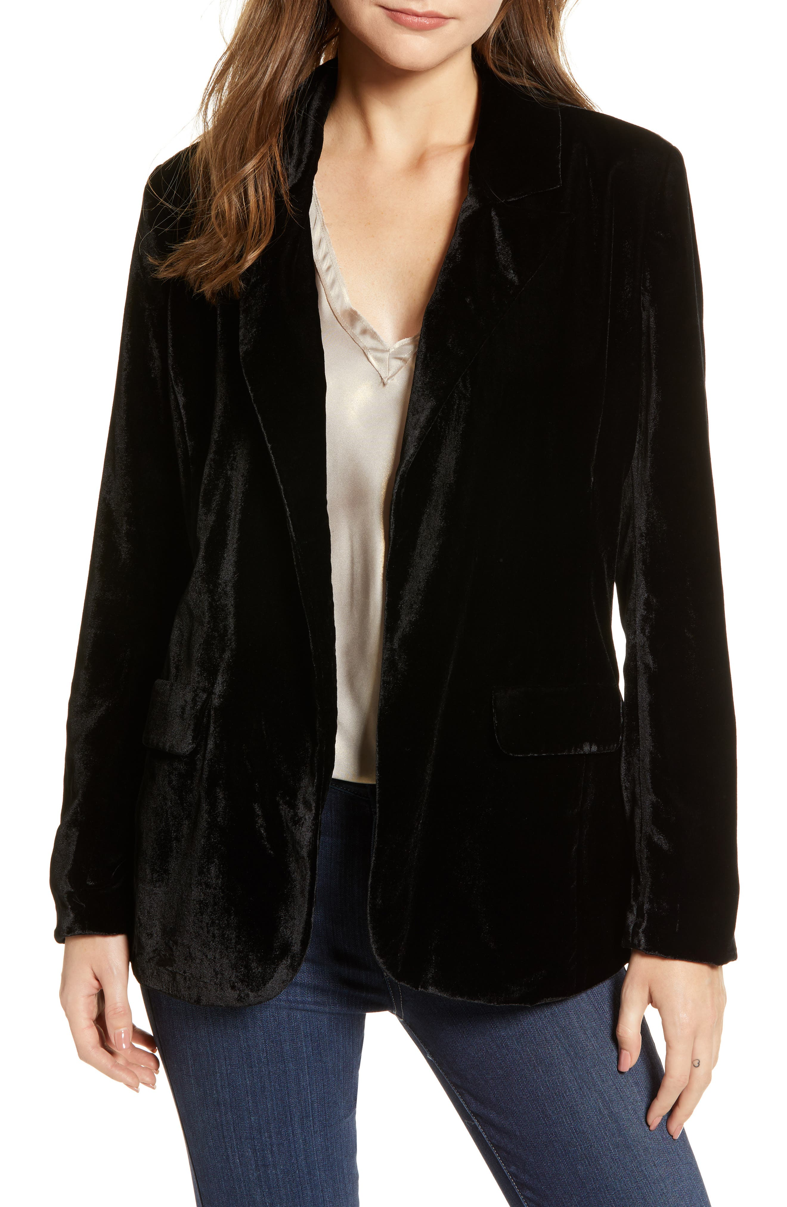 CHELSEA28, Velvet Blazer, Main thumbnail 1, color, BLACK