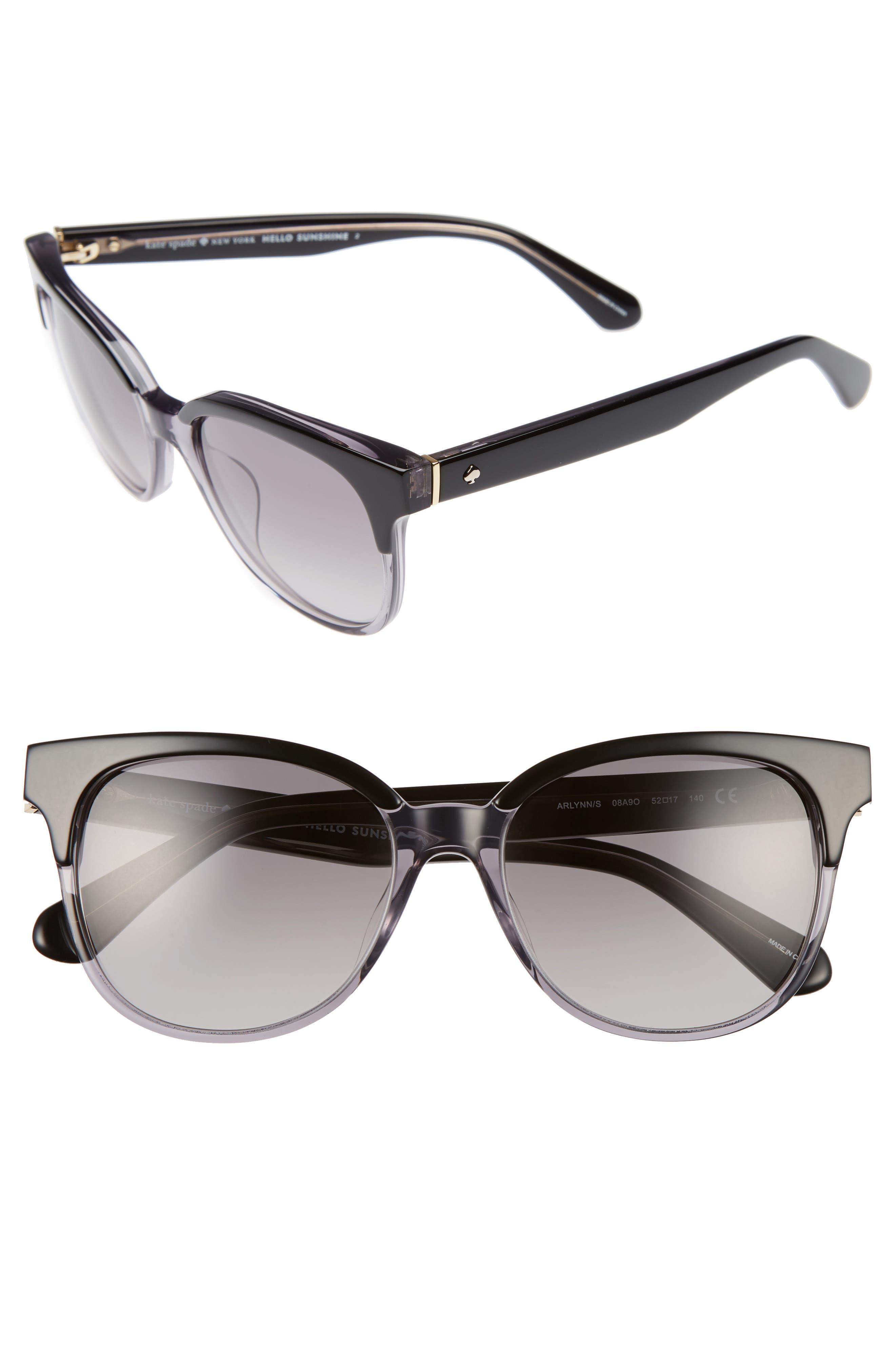 KATE SPADE NEW YORK, arlynn 52mm sunglasses, Main thumbnail 1, color, 001