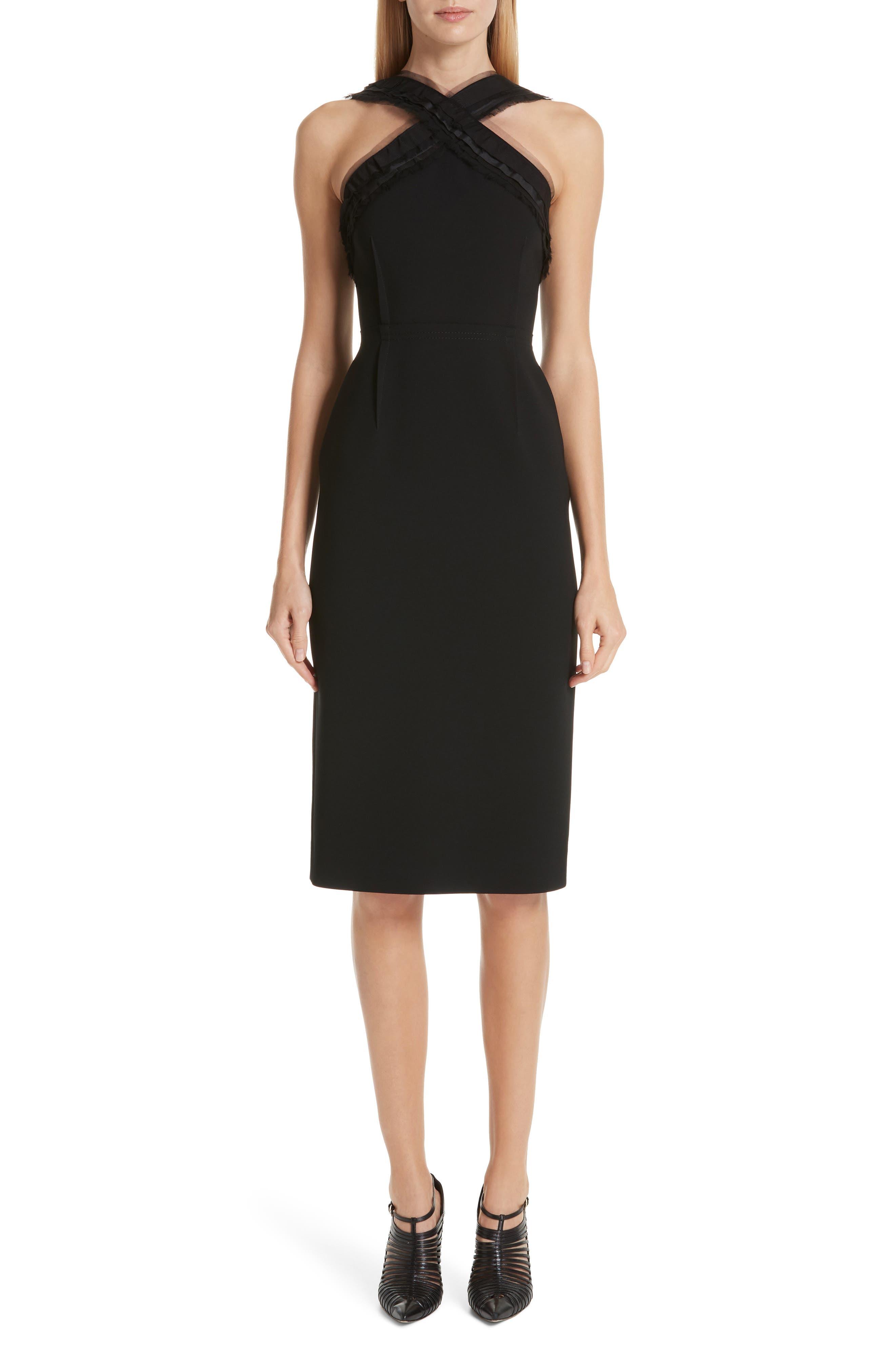 Jason Wu Collection Compact Crepe Ruffle Trim Dress, Black
