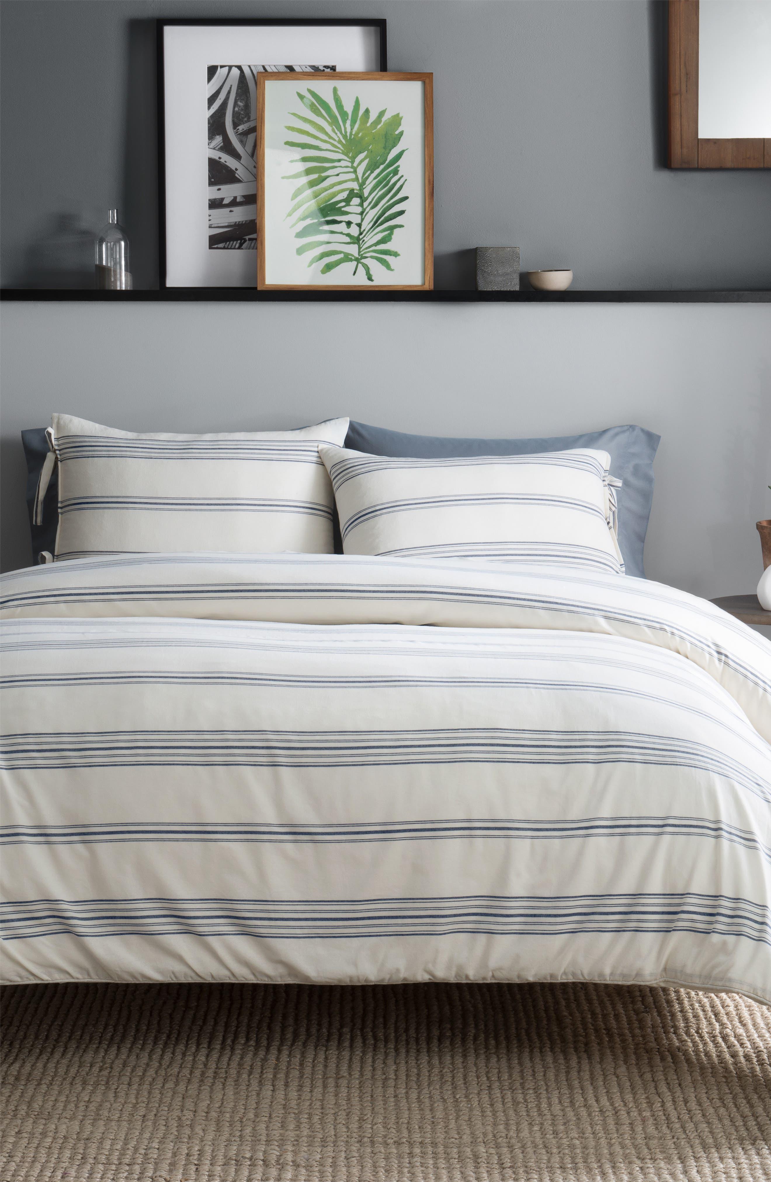 PENDLETON Ticking Stripe Duvet Cover & Sham Set, Main, color, IVORY