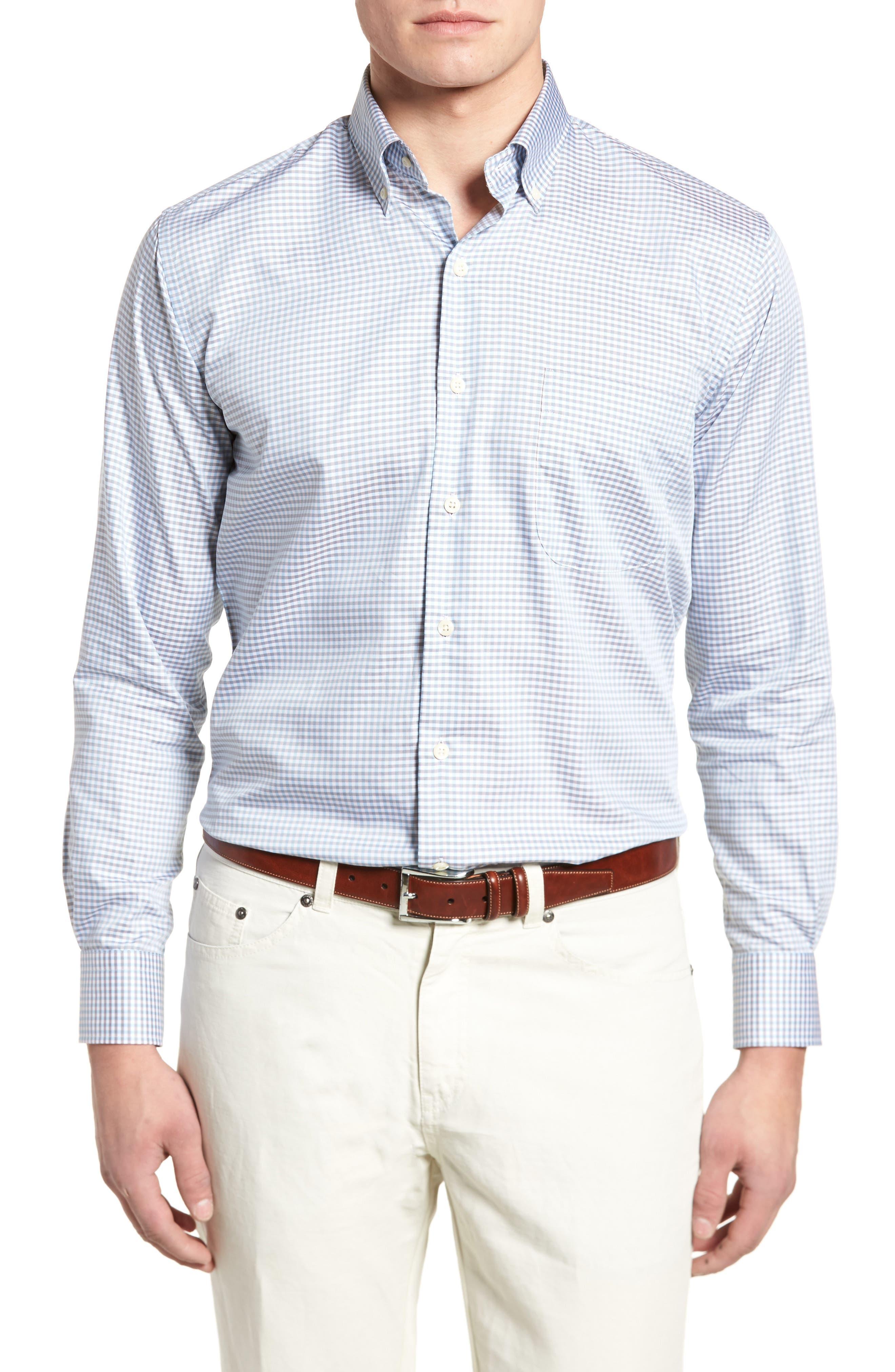 PETER MILLAR, Crown Regular Fit Mini Check Sport Shirt, Main thumbnail 1, color, TAR HEEL BLUE