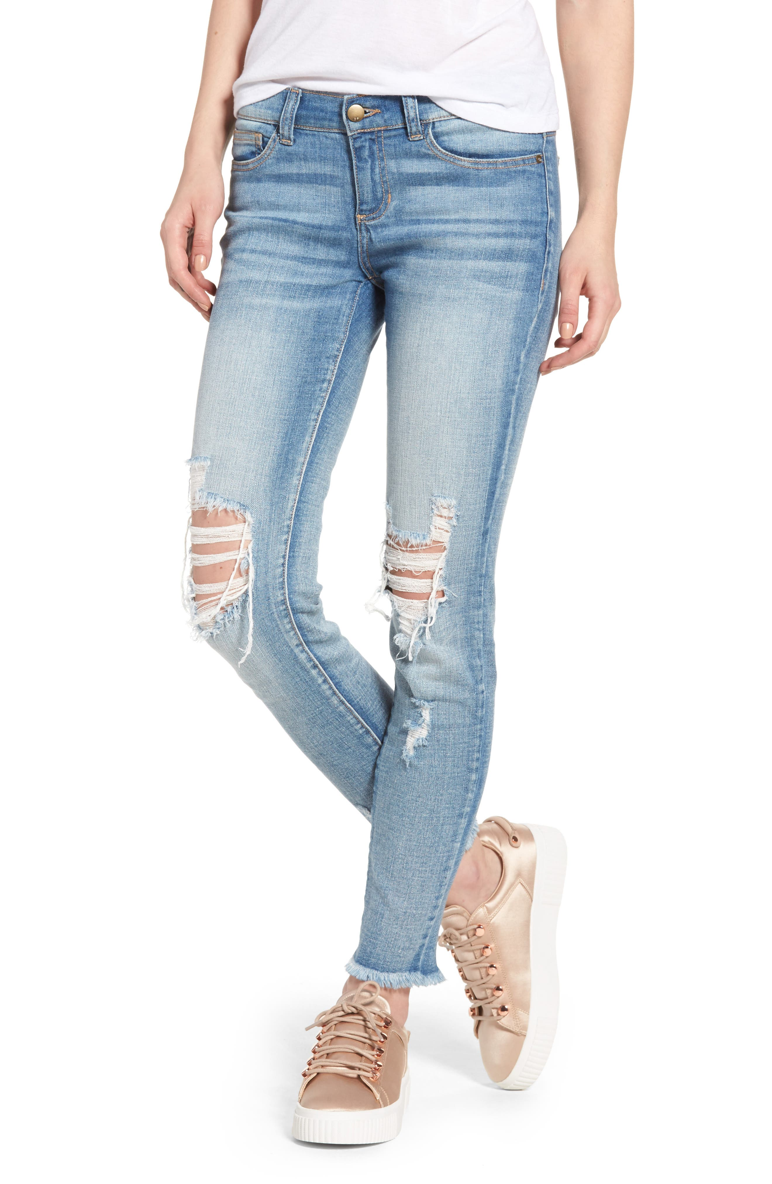 SP BLACK, Ripped Knee Skinny Jeans, Main thumbnail 1, color, 400