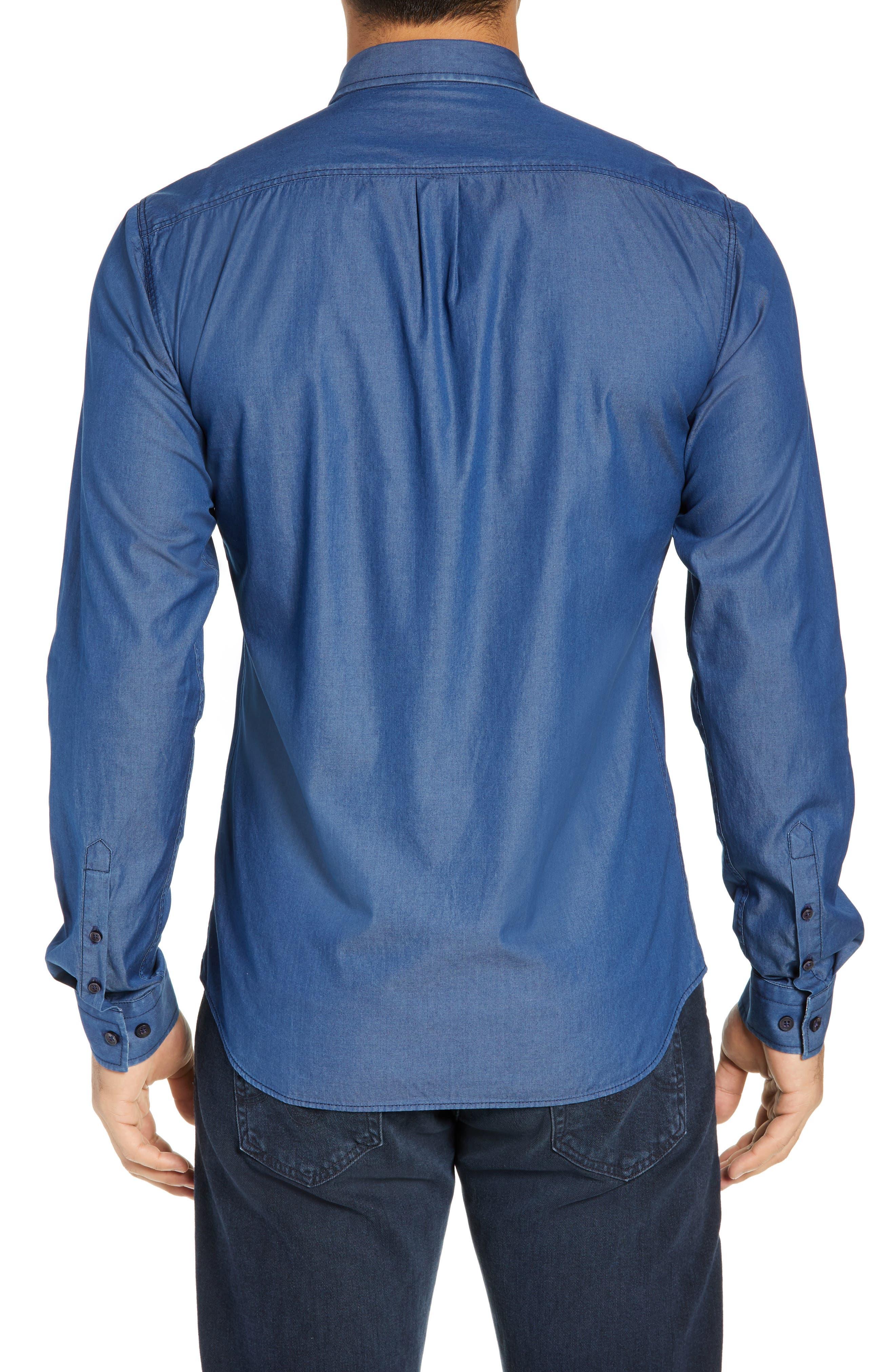 JARED LANG, Slim Fit Chambray Sport Shirt, Alternate thumbnail 3, color, CHAMBRAY
