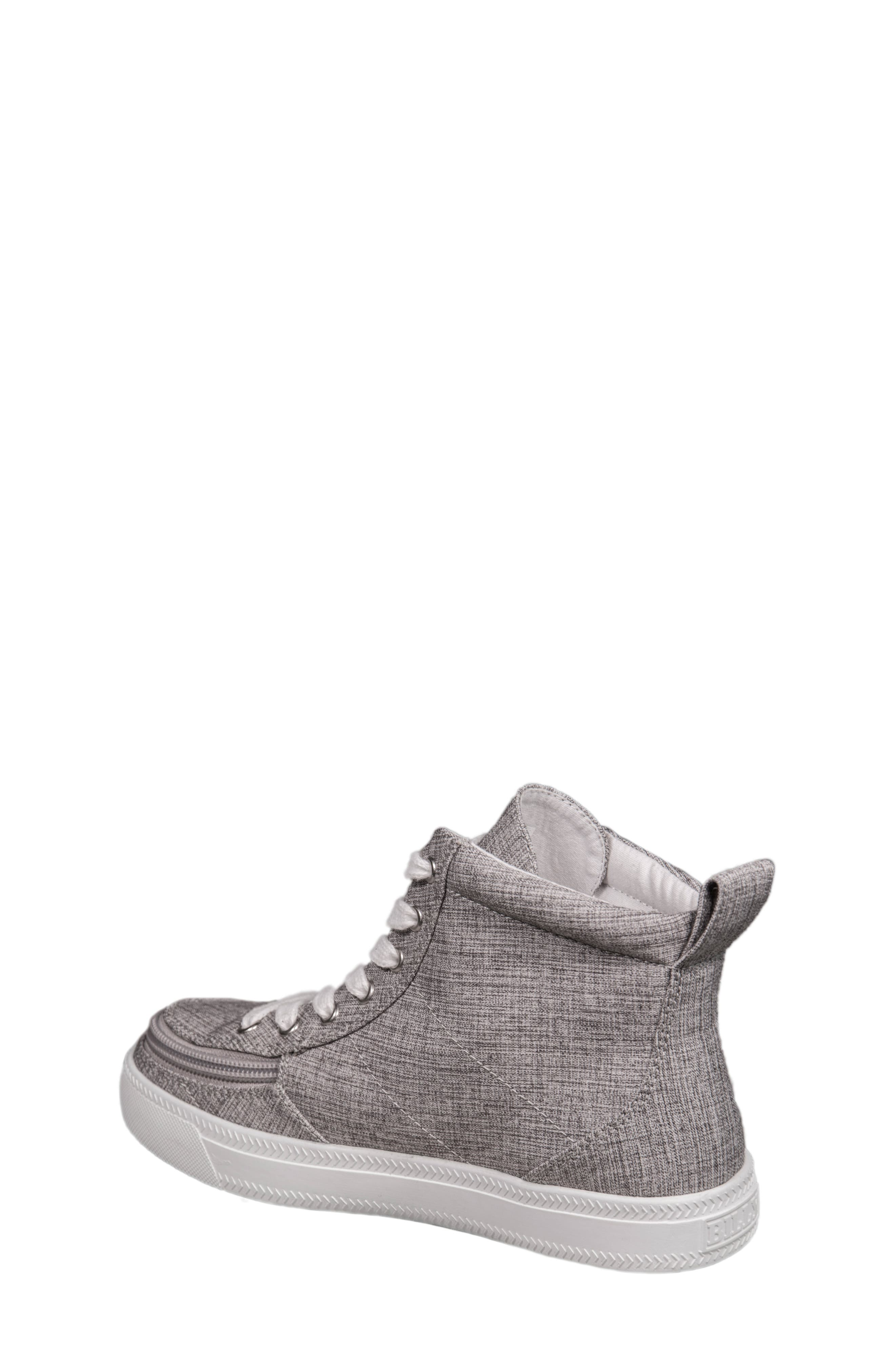 BILLY FOOTWEAR, Zip Around High Top Sneaker, Alternate thumbnail 2, color, GREY JERSEY