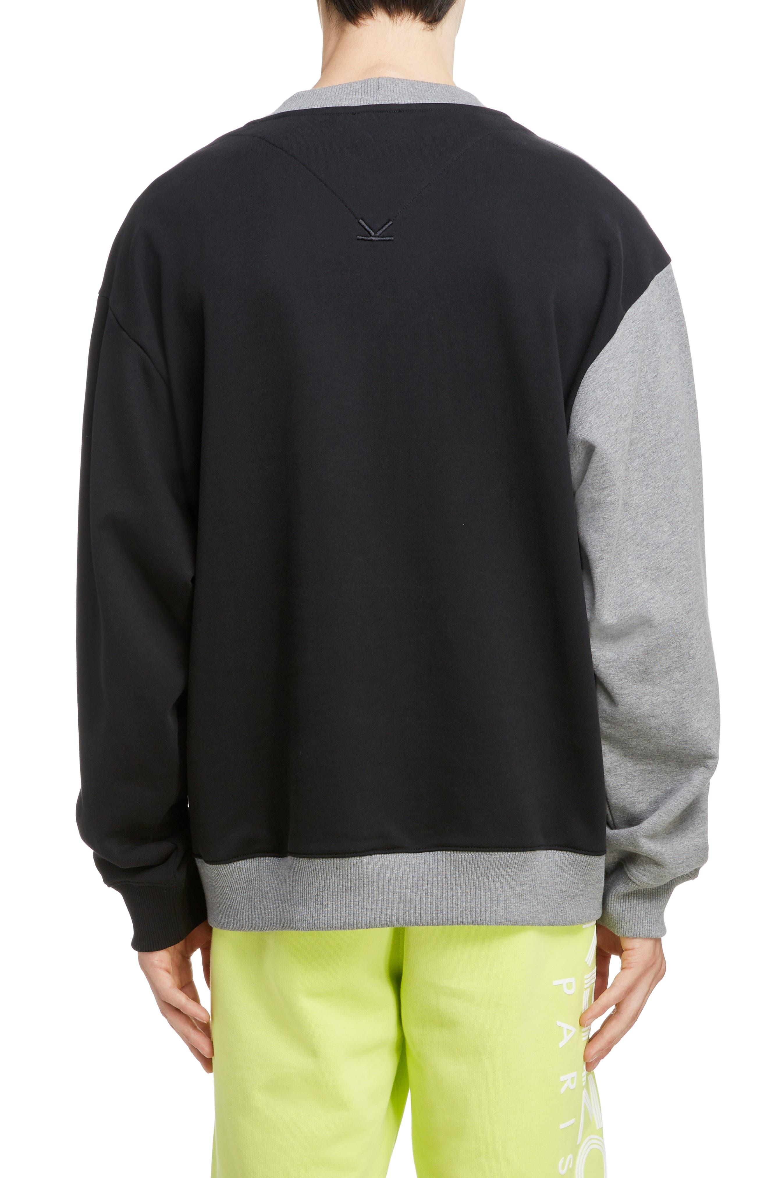 KENZO, Oversize Colorblock Sweatshirt, Alternate thumbnail 2, color, DOVE GREY