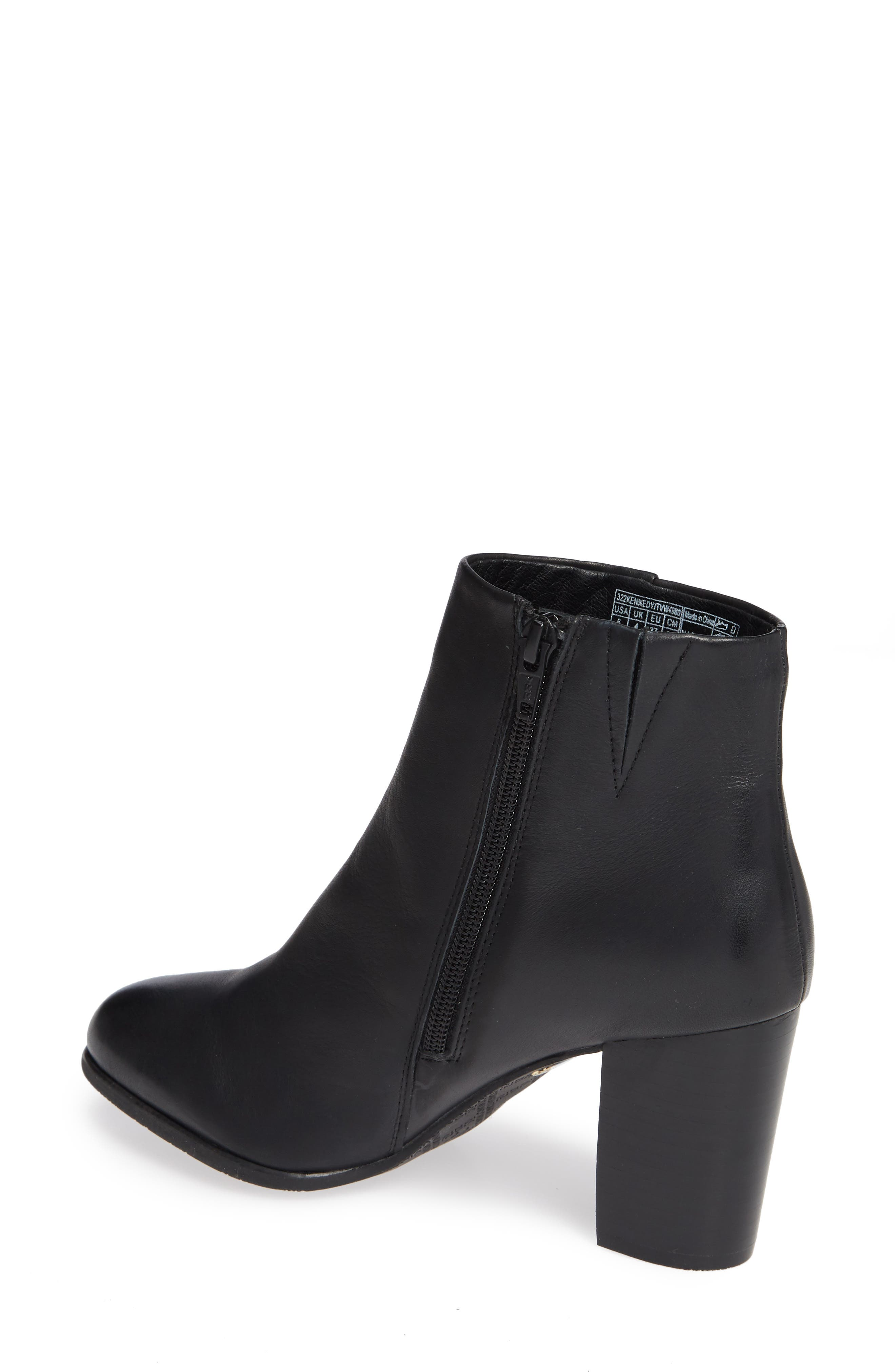 VIONIC, Kennedy Ankle Bootie, Alternate thumbnail 2, color, BLACK LEATHER