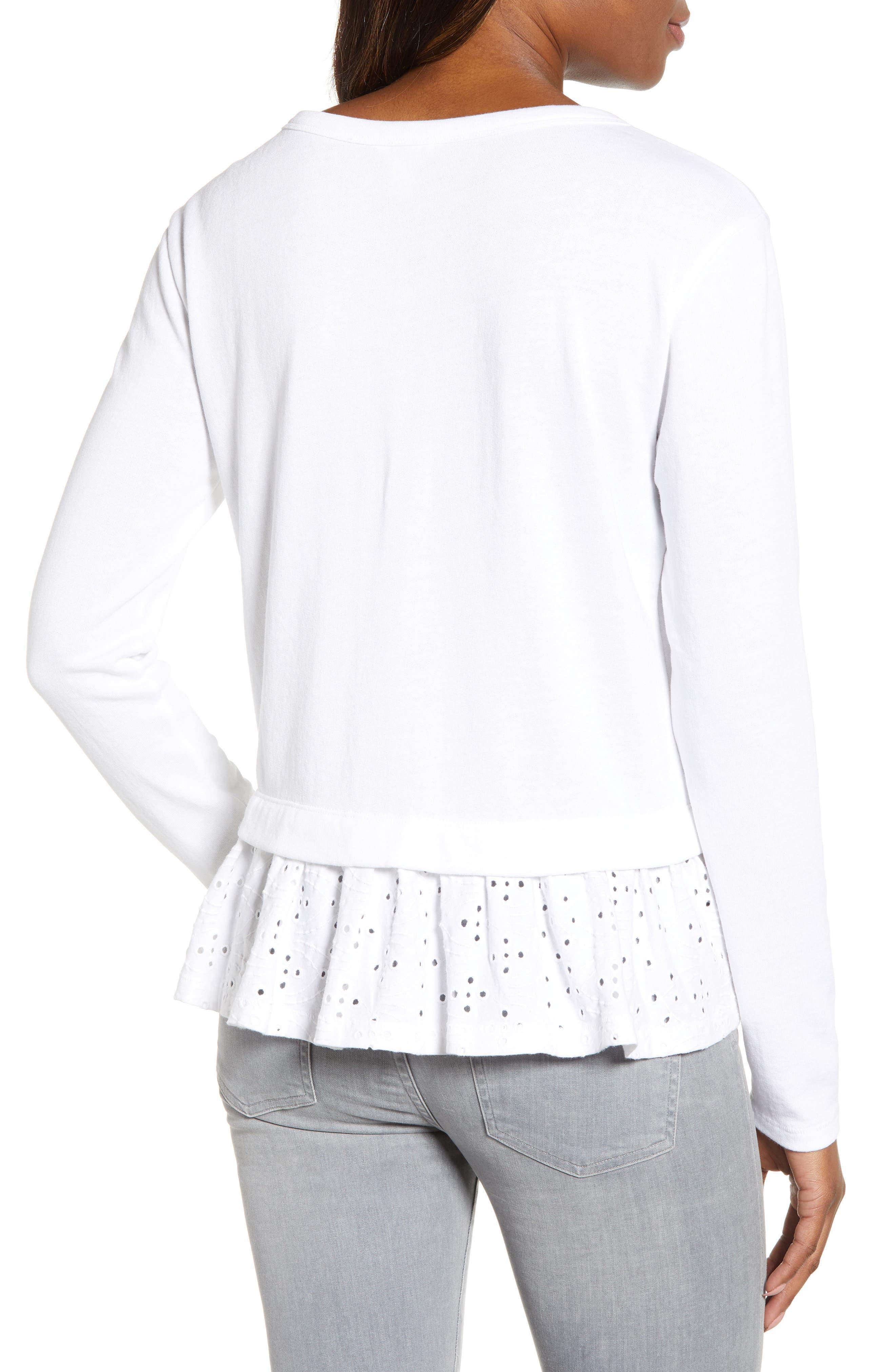 CASLON<SUP>®</SUP>, Eyelet Peplum Sweatshirt, Alternate thumbnail 2, color, WHITE