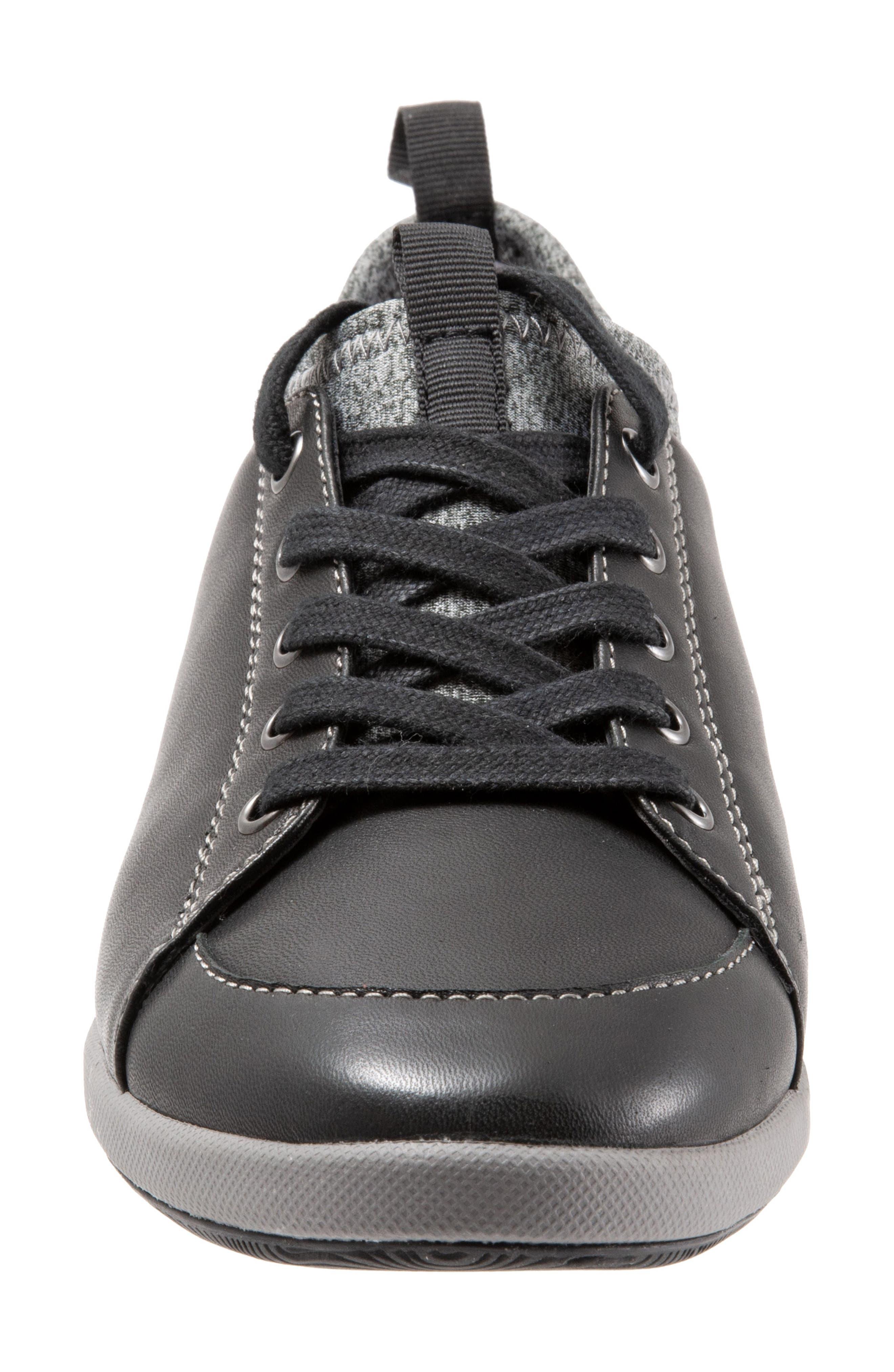 SOFTWALK<SUP>®</SUP>, SAVA Haven Sneaker, Alternate thumbnail 4, color, BLACK/ GREY LEATHER