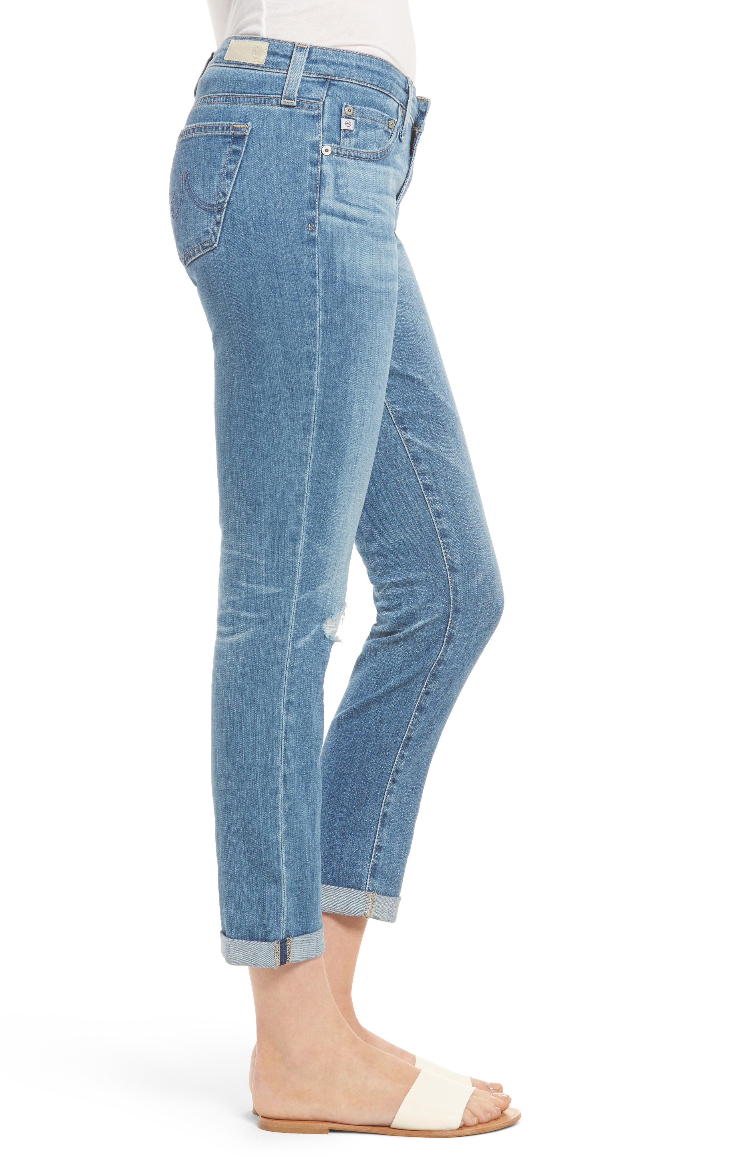 AG, 'Stilt' Distressed Roll Cuff Cigarette Jeans, Alternate thumbnail 3, color, 403