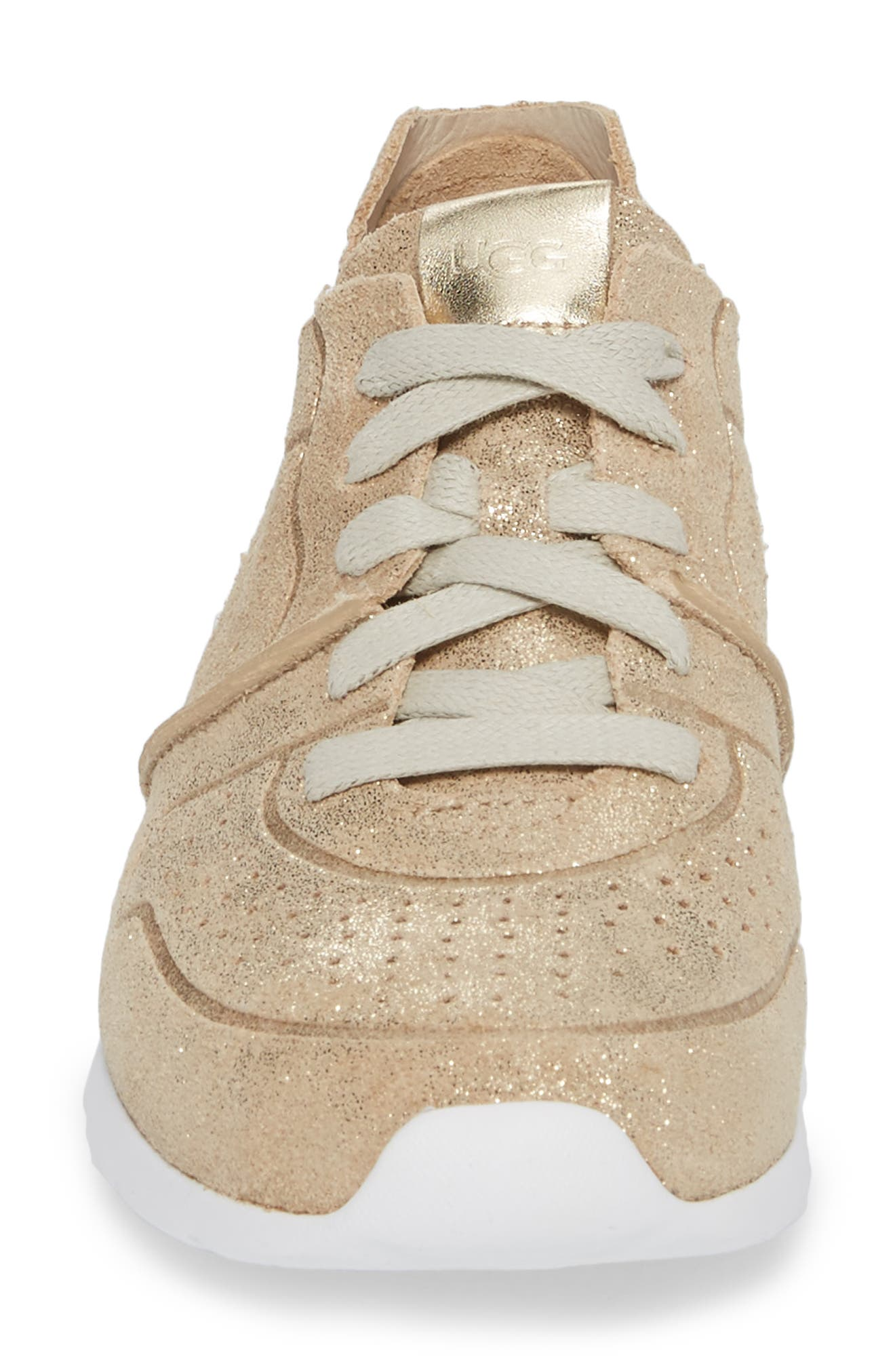 UGG<SUP>®</SUP>, Tye Stardust Sneaker, Alternate thumbnail 4, color, GOLD LEATHER