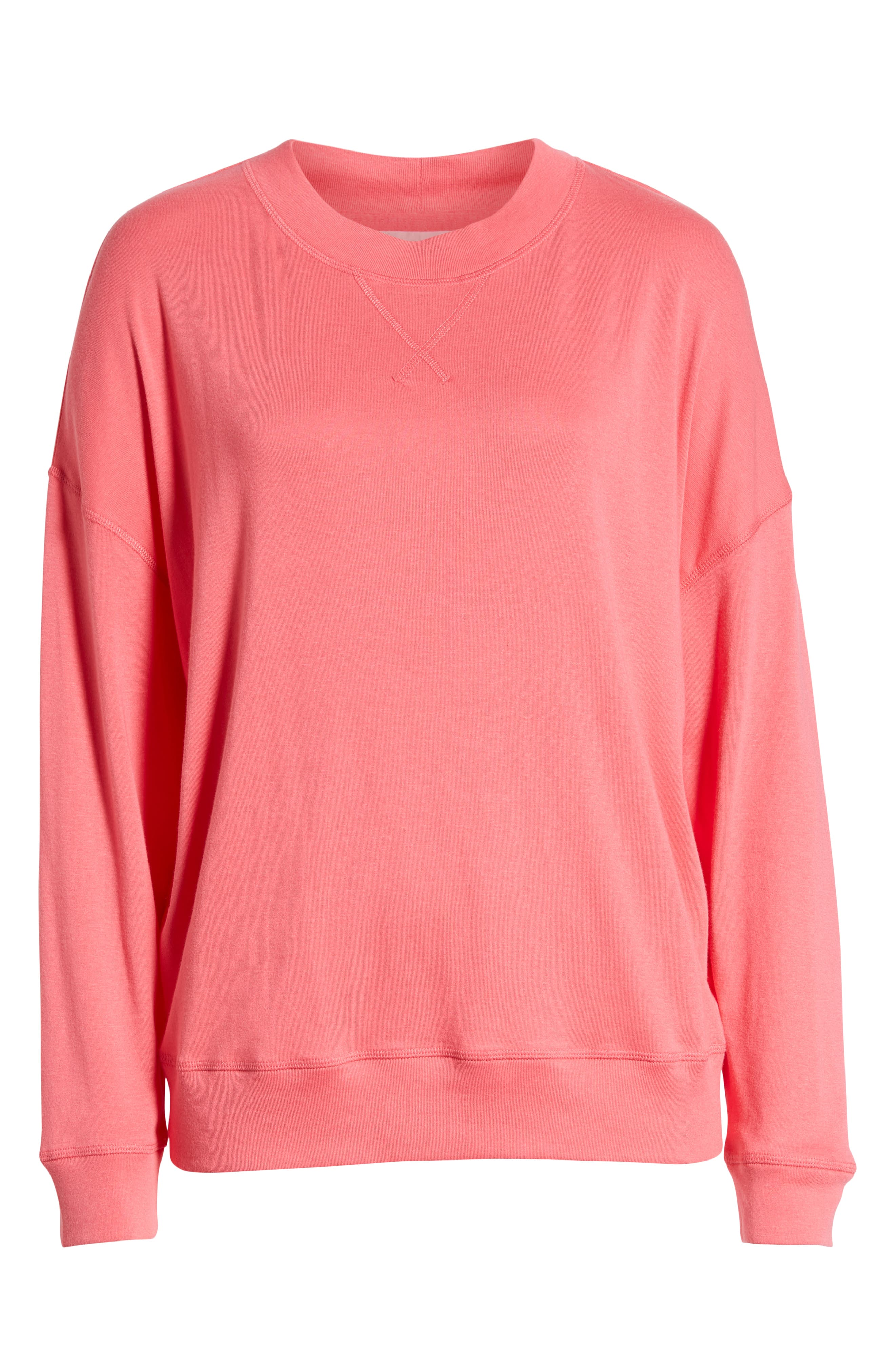 CASLON<SUP>®</SUP>, Sweatshirt, Alternate thumbnail 6, color, PINK HONEY