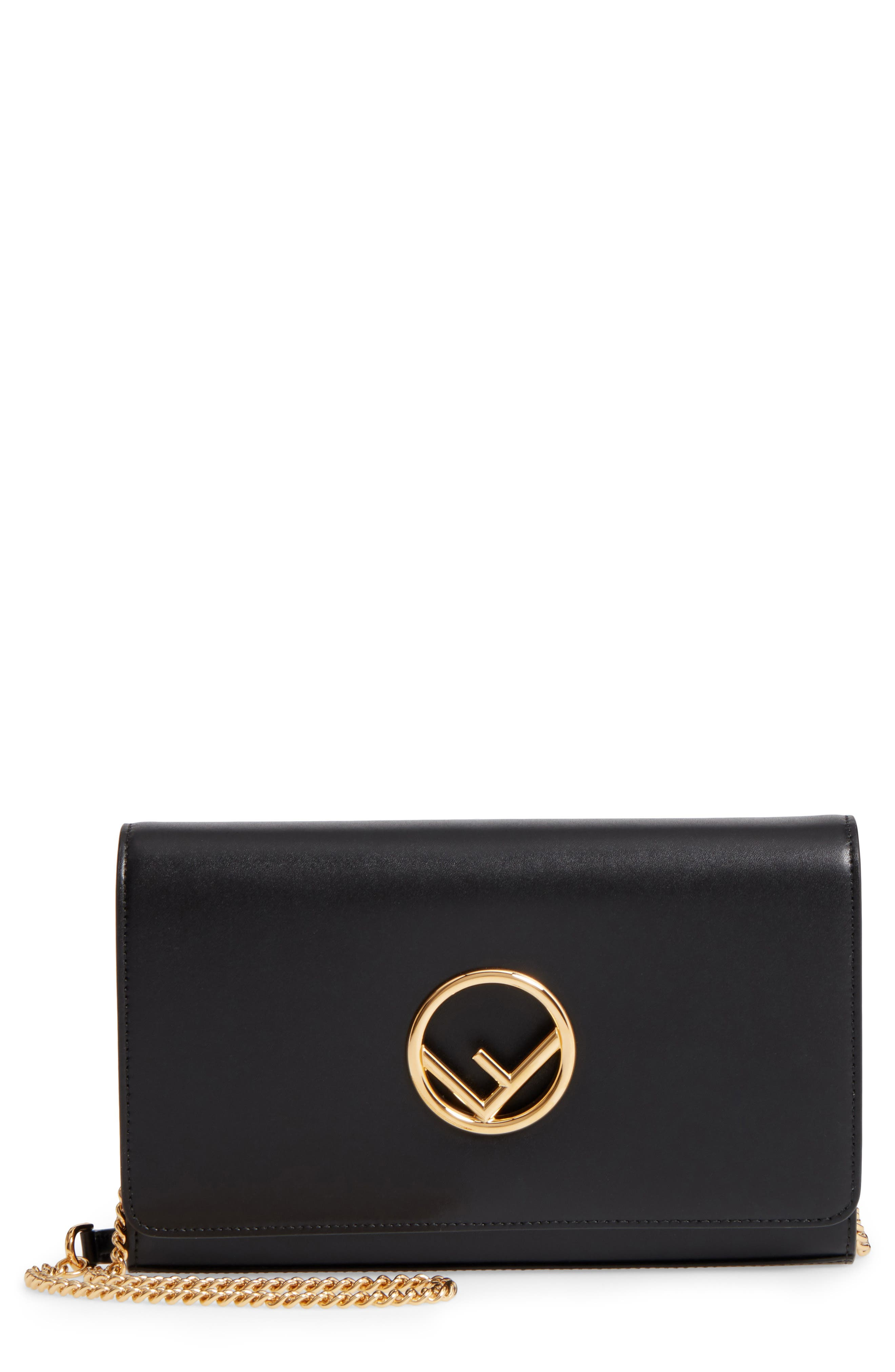 FENDI, Liberty Logo Calfskin Leather Wallet on a Chain, Main thumbnail 1, color, 006