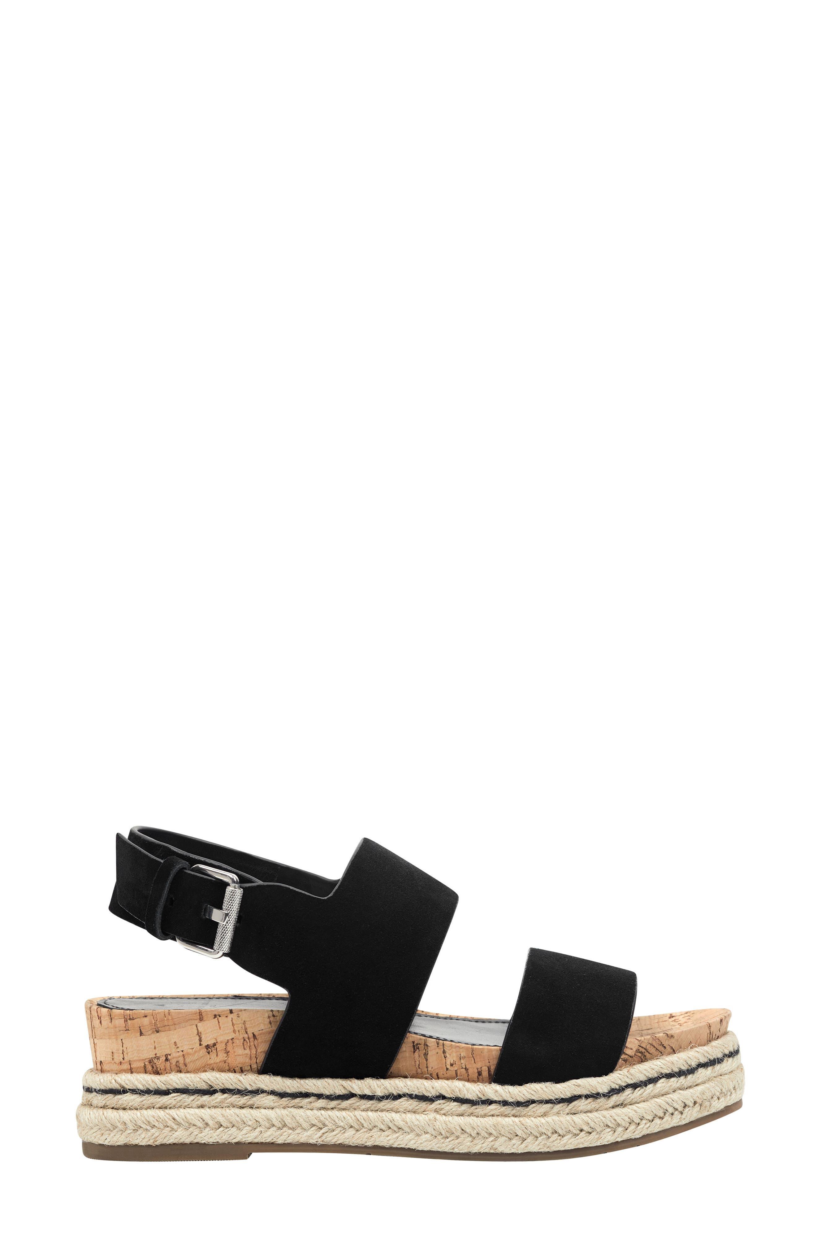 MARC FISHER LTD, Oria Espadrille Platform Sandal, Alternate thumbnail 3, color, BLACK SUEDE