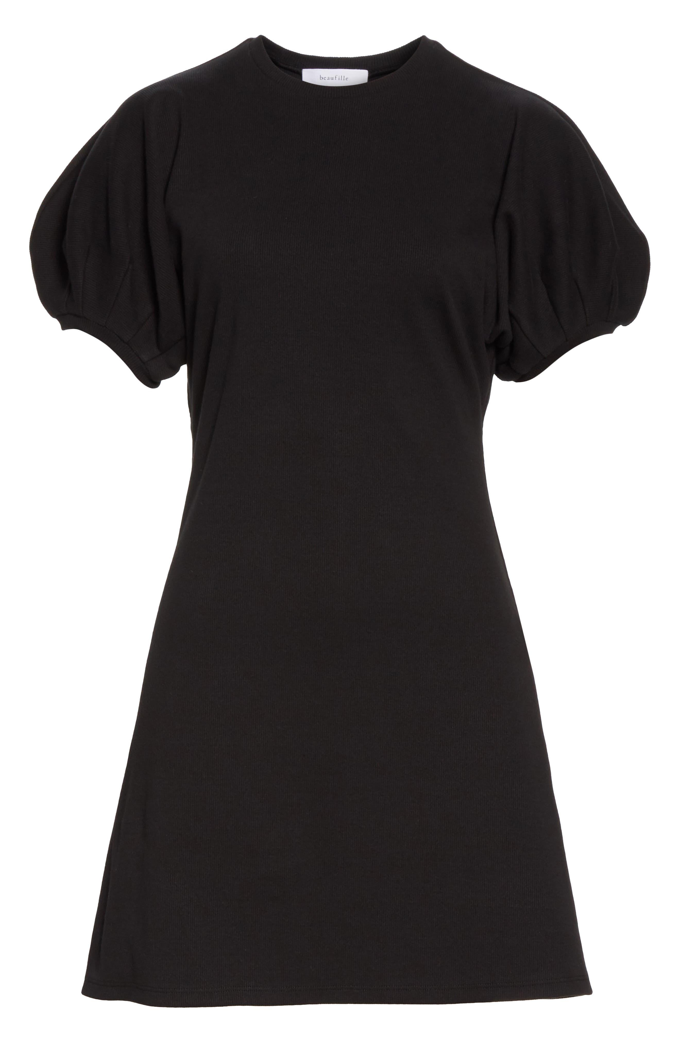 BEAUFILLE, Leda Puff Sleeve Dress, Alternate thumbnail 6, color, BLACK