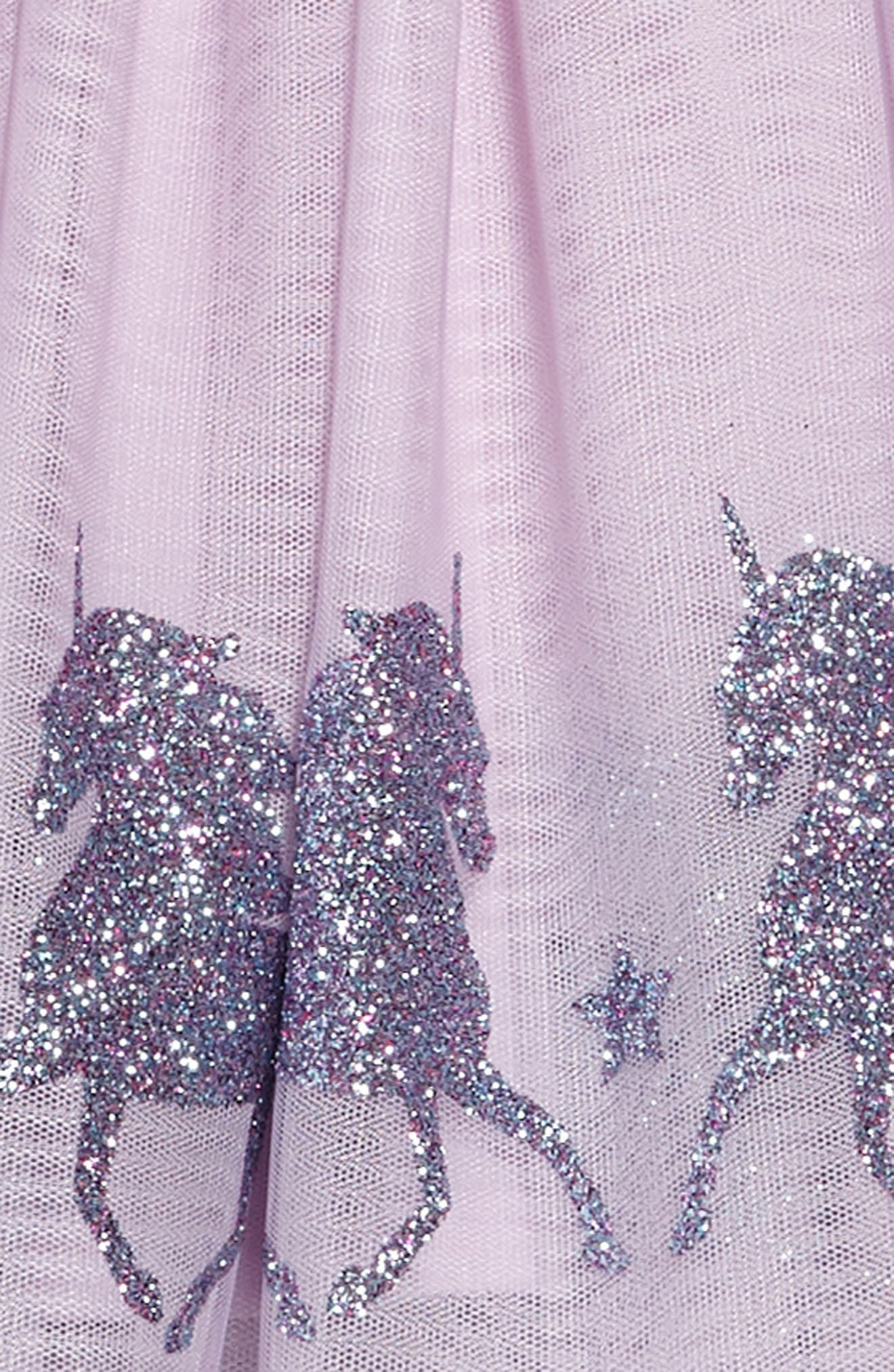 ZUNIE, Glittery Unicorn Ballerina Dress, Alternate thumbnail 3, color, LAVENDER