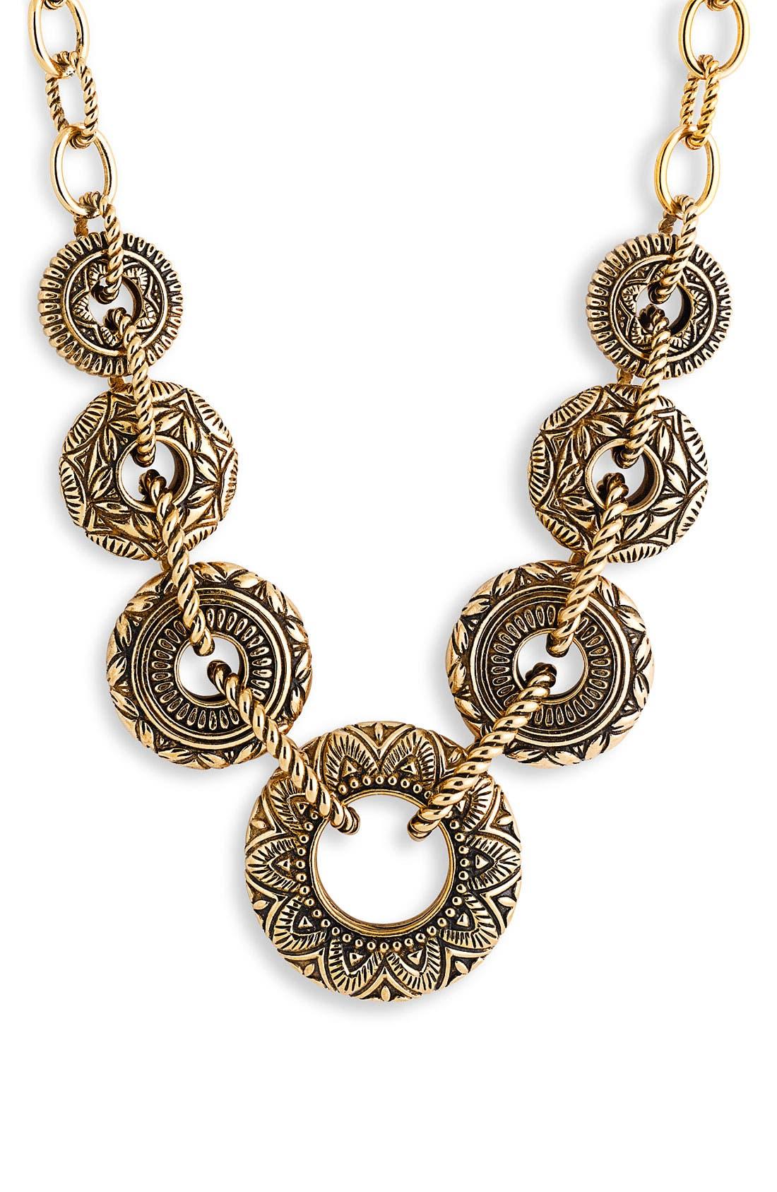 BARSE 'Mayan' Bronze Link Necklace, Main, color, 220