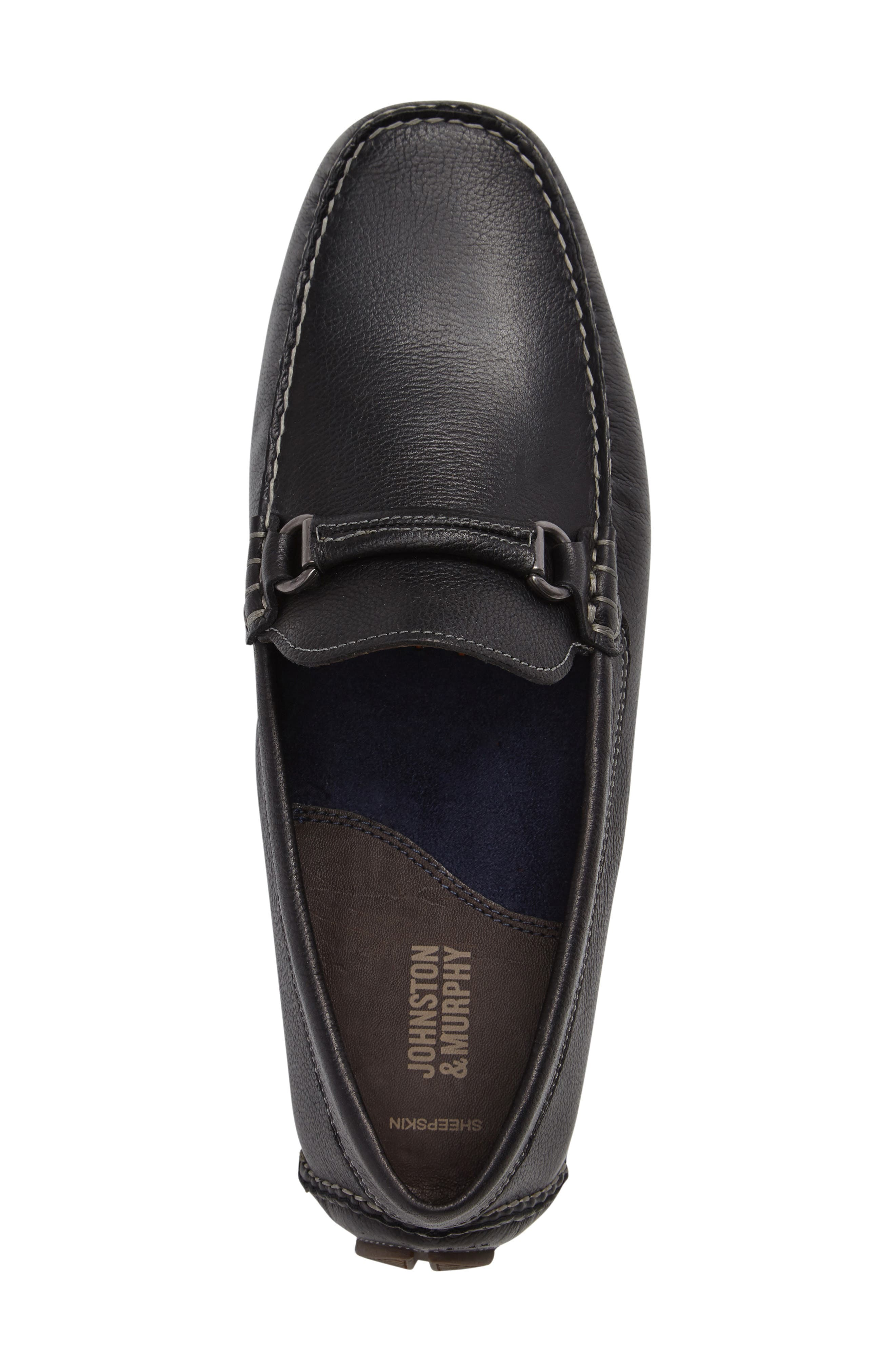 JOHNSTON & MURPHY, Gibson Bit Driving Loafer, Alternate thumbnail 3, color, BLACK LEATHER