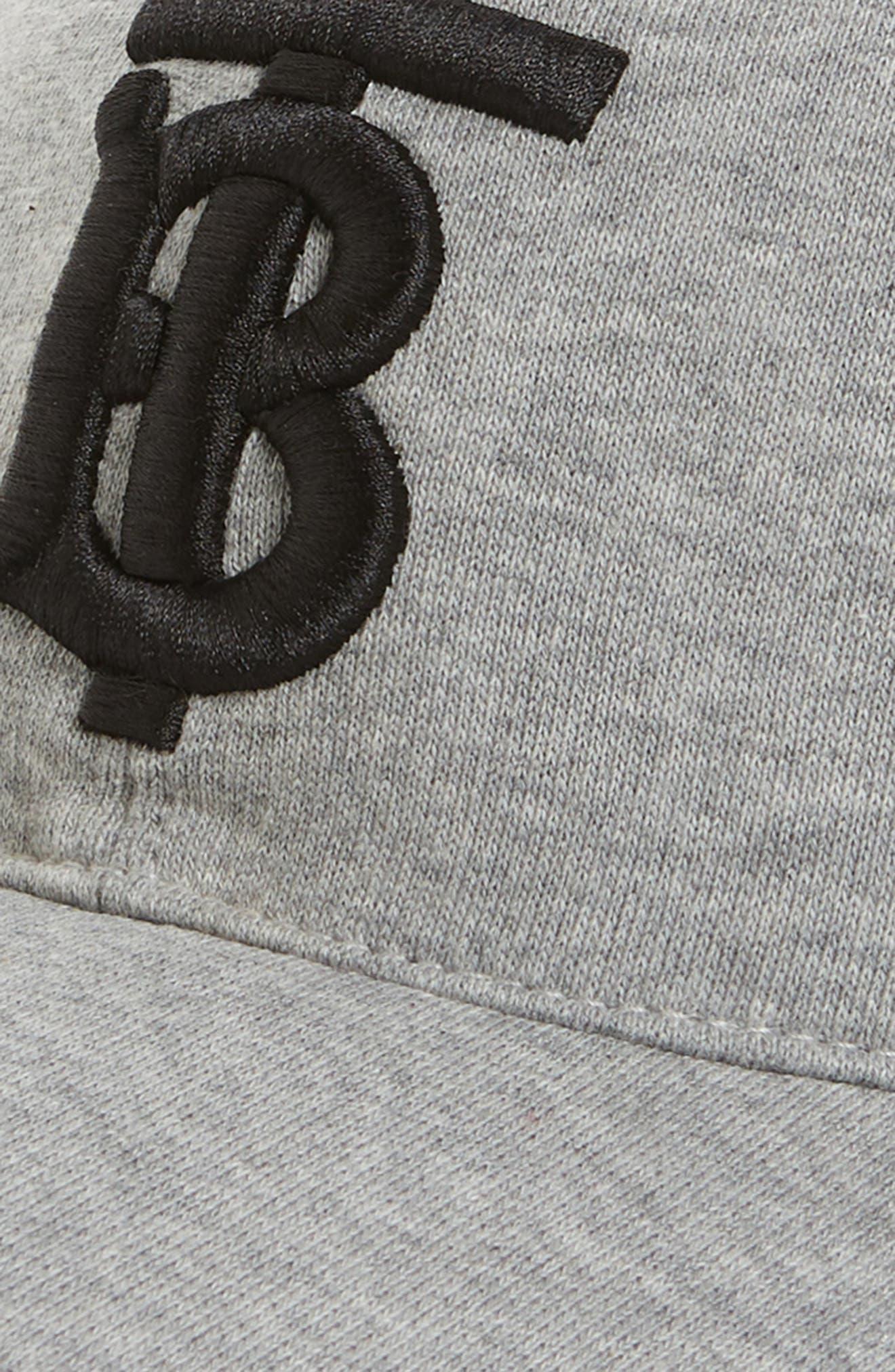 BURBERRY, Jersey Baseball Cap, Alternate thumbnail 3, color, LIGHT GREY MELANGE