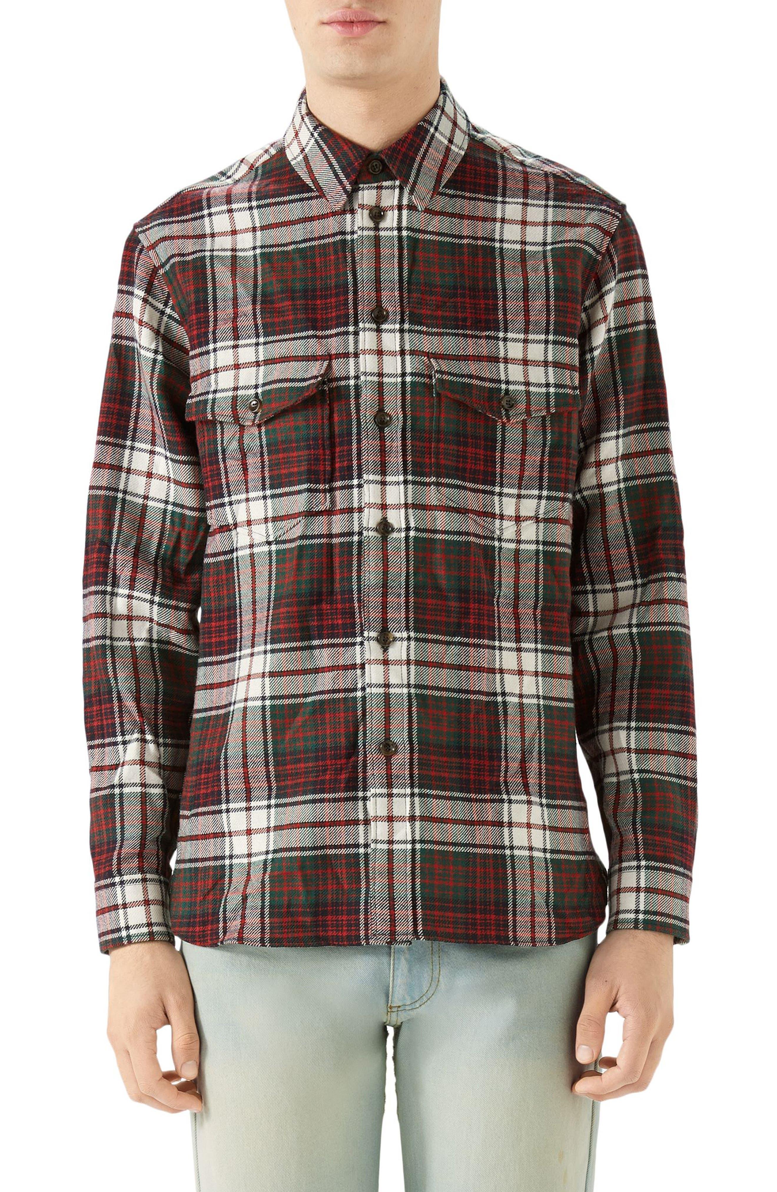 GUCCI, Vintage Tartan Check Wool Flannel Sport Shirt, Main thumbnail 1, color, RED
