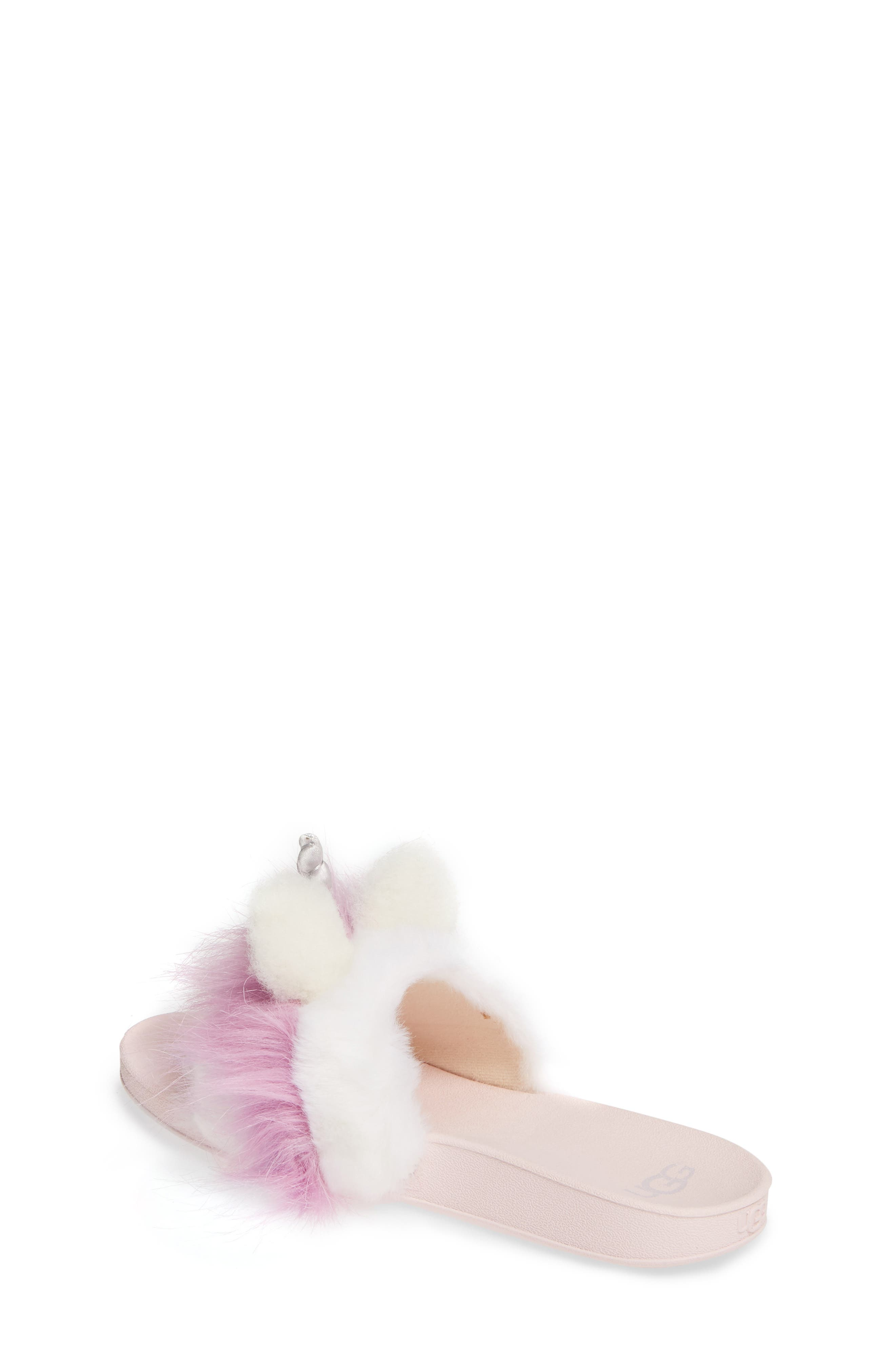 UGG<SUP>®</SUP>, Rainbow Unicorn Faux Fur & Genuine Calf Hair Slide Sandal, Alternate thumbnail 2, color, MULTI