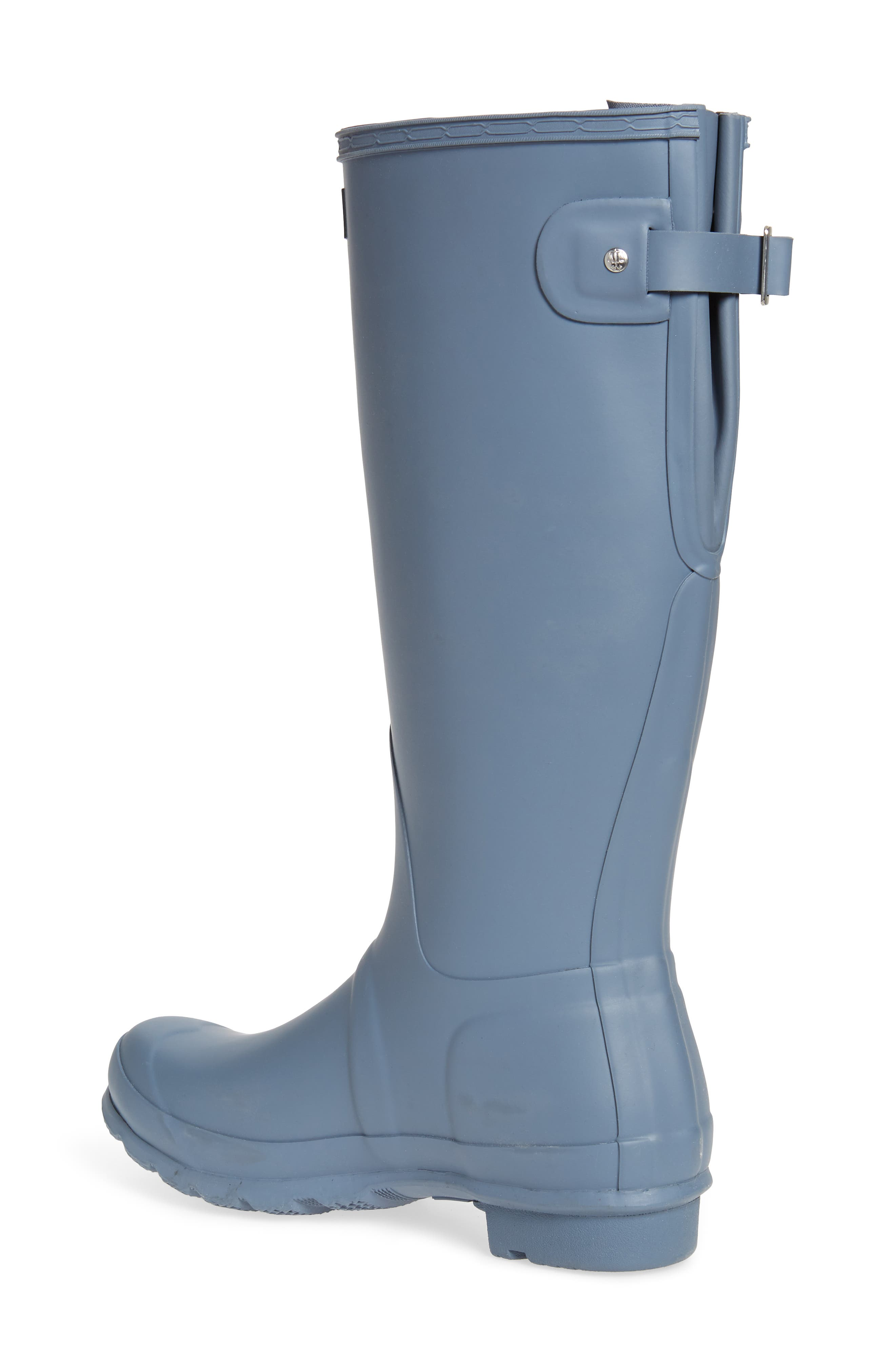 HUNTER, Original Tall Adjustable Back Waterproof Rain Boot, Alternate thumbnail 2, color, GULL GREY MATTE