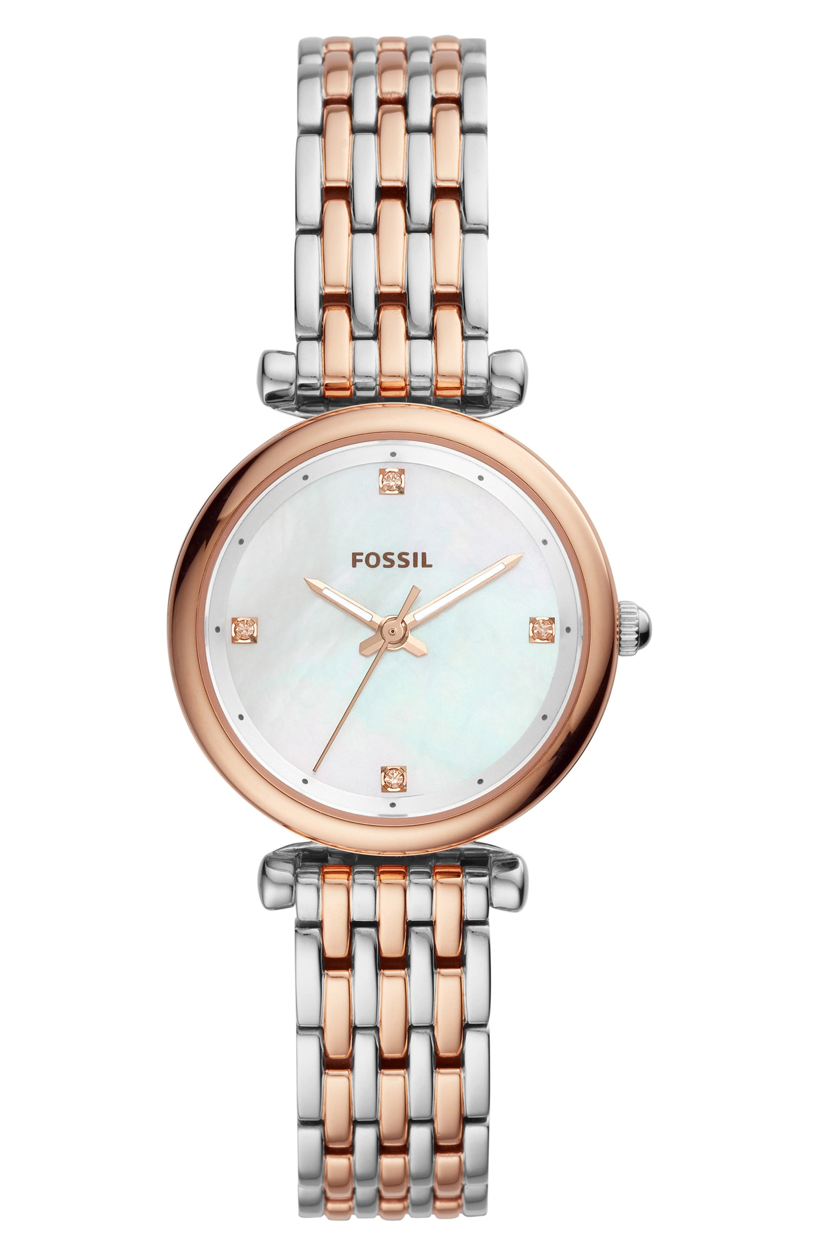 FOSSIL, Mini Carlie Bracelet Watch, 29mm, Main thumbnail 1, color, ROSE GOLD/MOTHER PEARL/SILVER