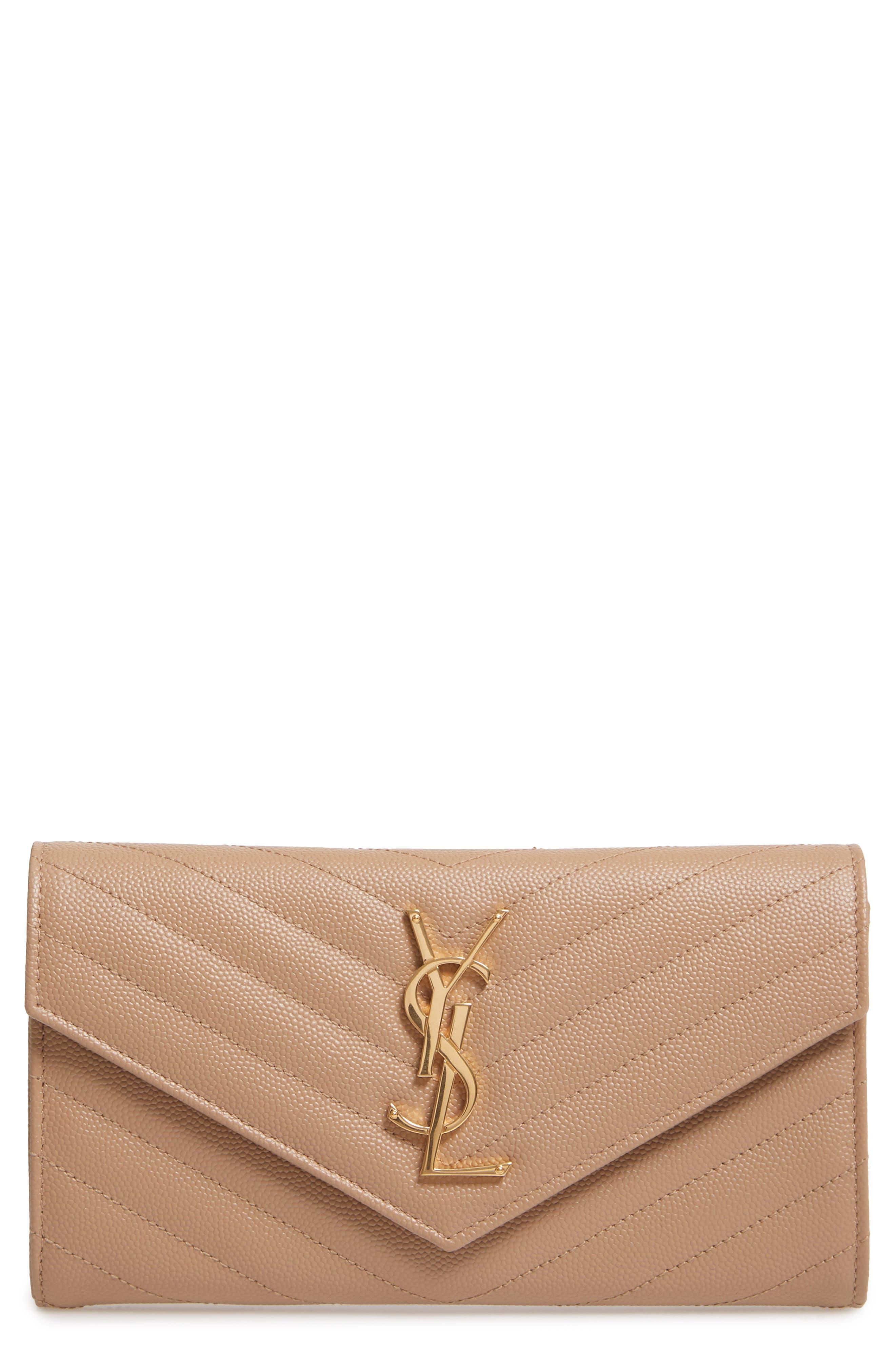 SAINT LAURENT Monogram Logo Leather Flap Wallet, Main, color, CHENE