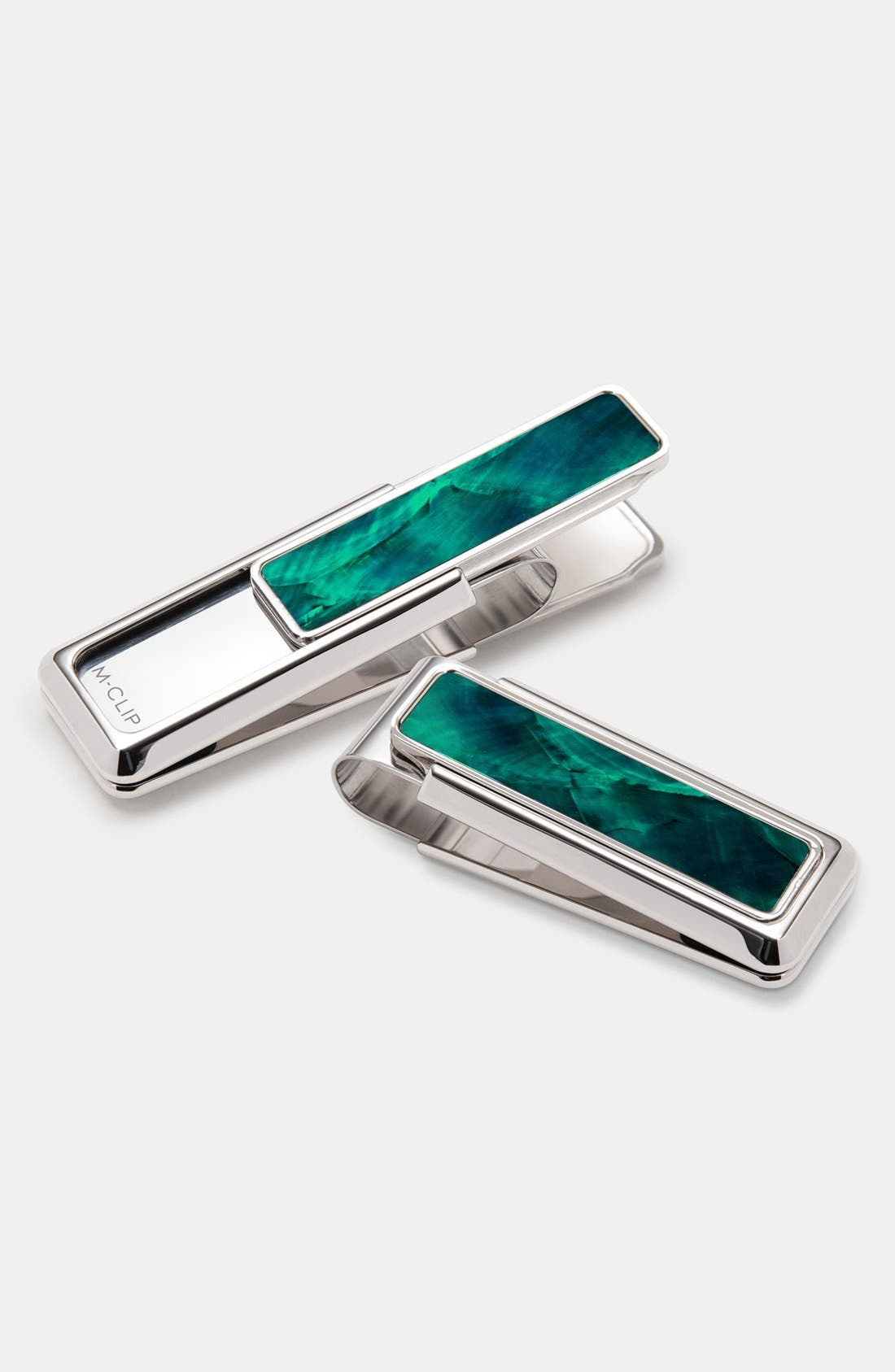 M-CLIP<SUP>®</SUP>, Mother of Pearl Inlay Money Clip, Main thumbnail 1, color, SILVER/ GREEN