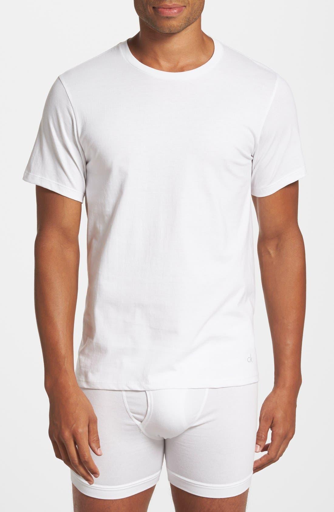 CALVIN KLEIN, 3-Pack Cotton T-Shirt, Alternate thumbnail 2, color, WHITE