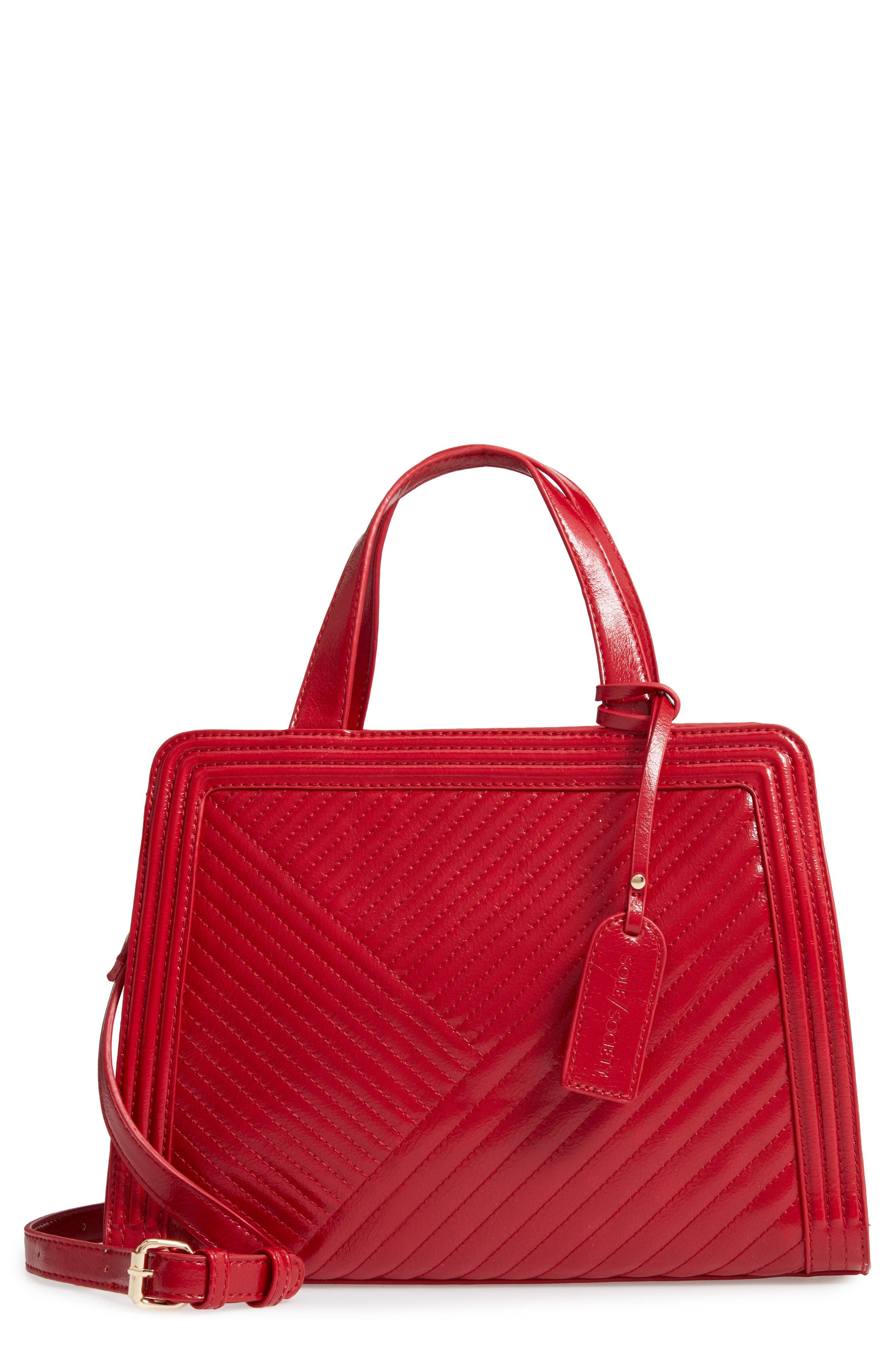 SOLE SOCIETY Aisln Faux Leather Satchel, Main, color, RED