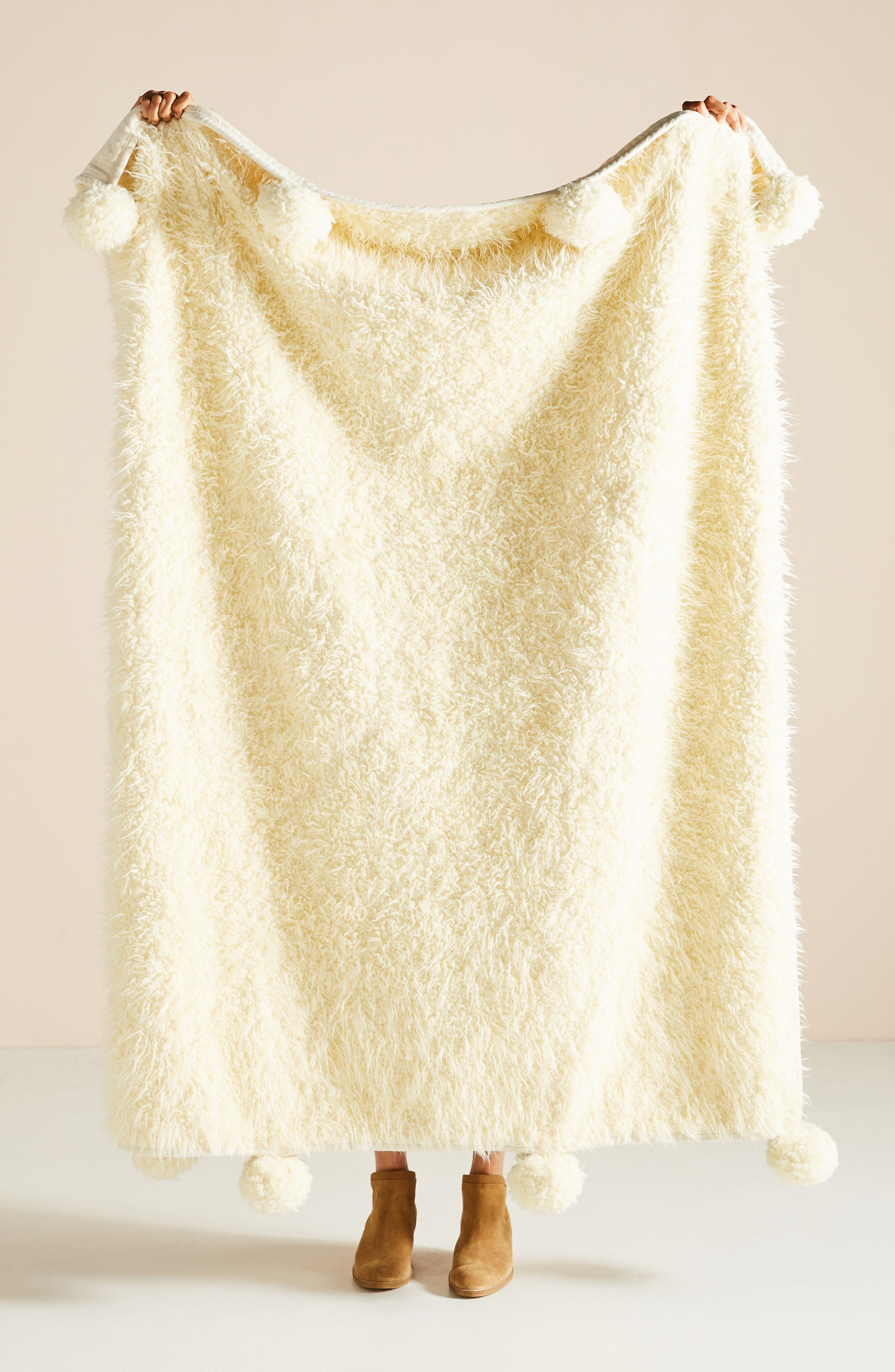 ANTHROPOLOGIE, Bailey Faux Fur Throw Blanket, Main thumbnail 1, color, IVORY