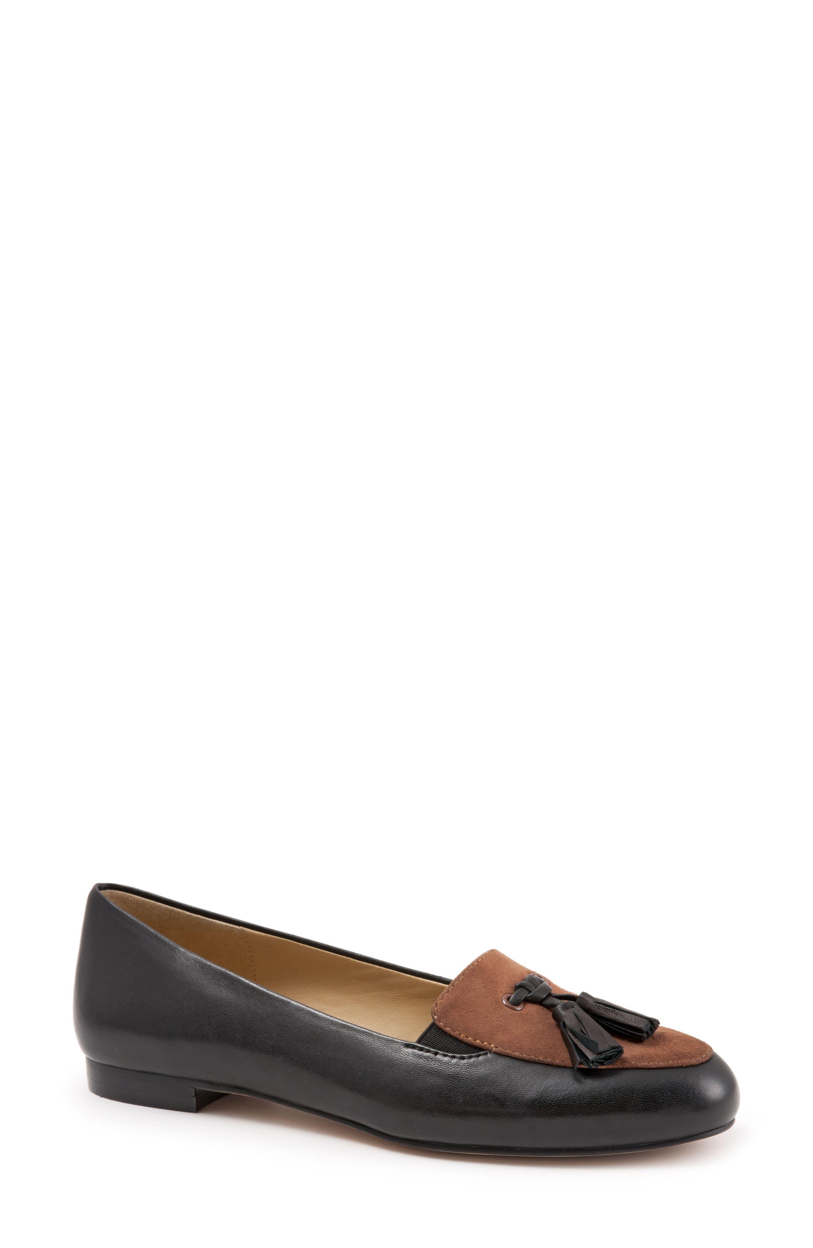 TROTTERS 'Caroline' Tassel Loafer, Main, color, BLACK/ TOBACCO LEATHER