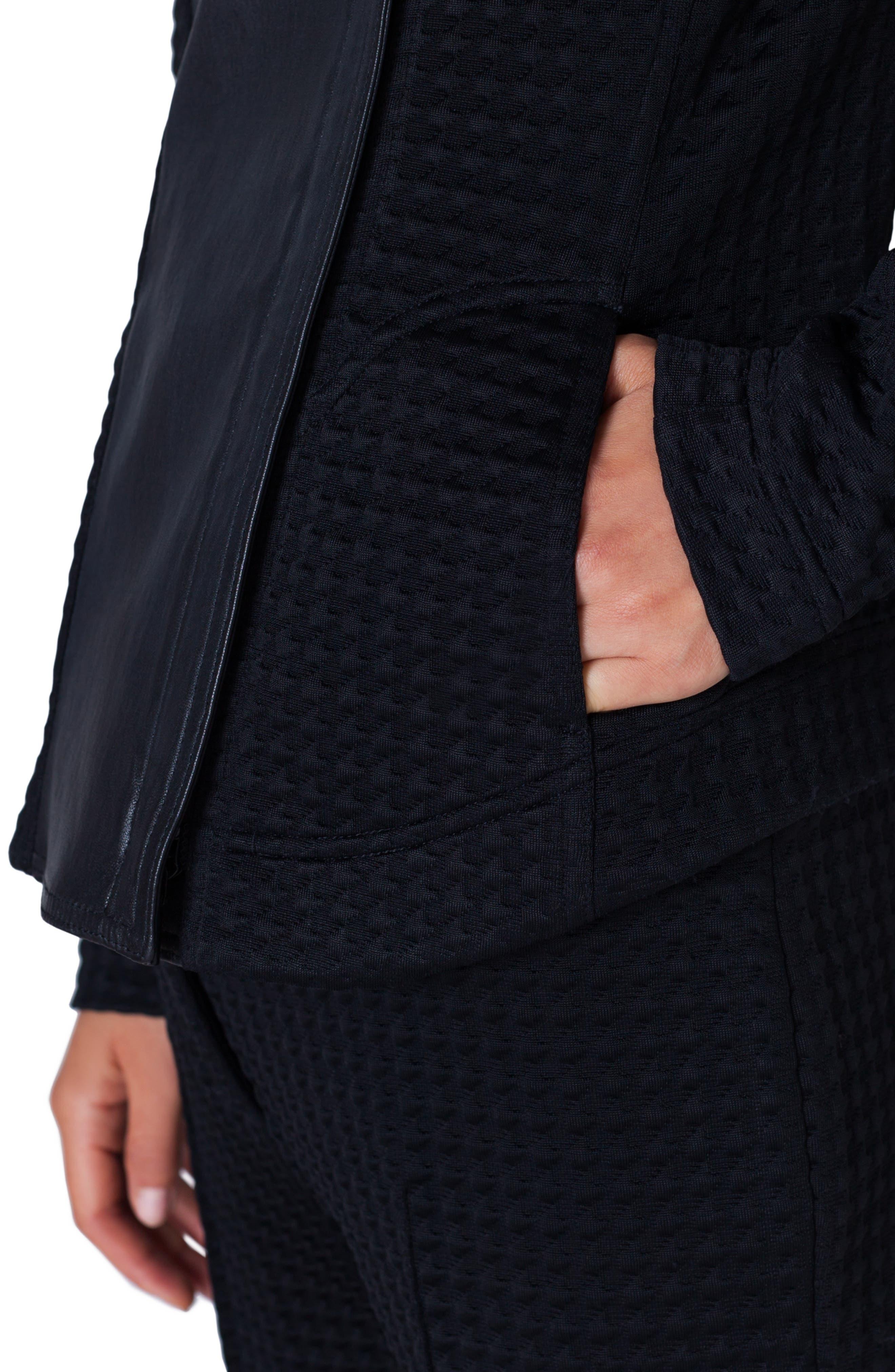 AKRIS PUNTO, Leather & Jersey Biker Jacket, Alternate thumbnail 4, color, NERO