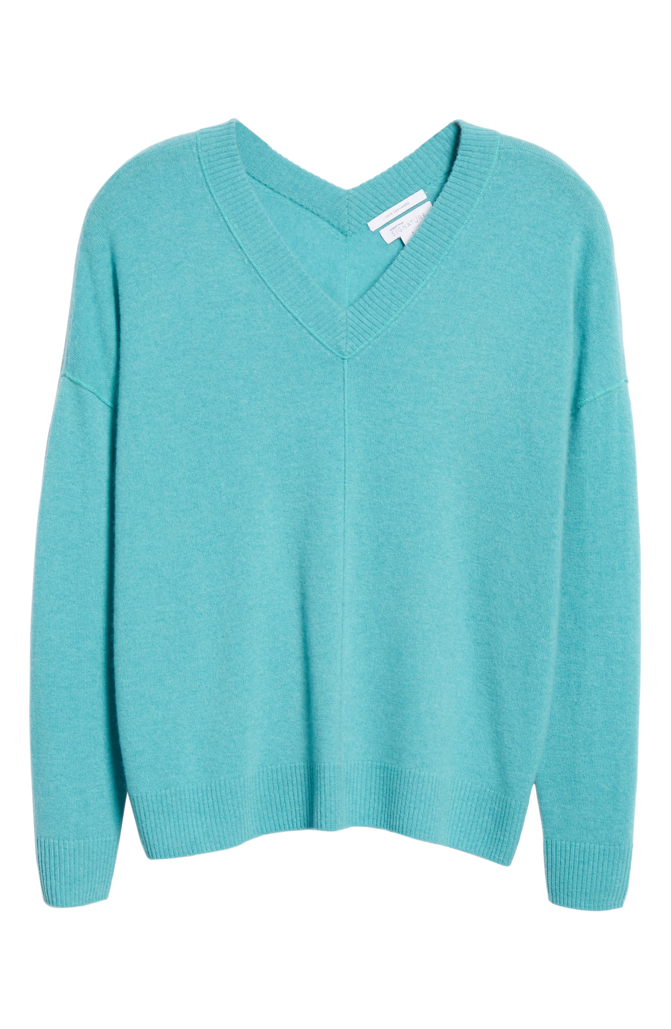 NORDSTROM SIGNATURE, Cashmere Double V-Neck Pullover, Alternate thumbnail 6, color, TEAL PORCELAIN