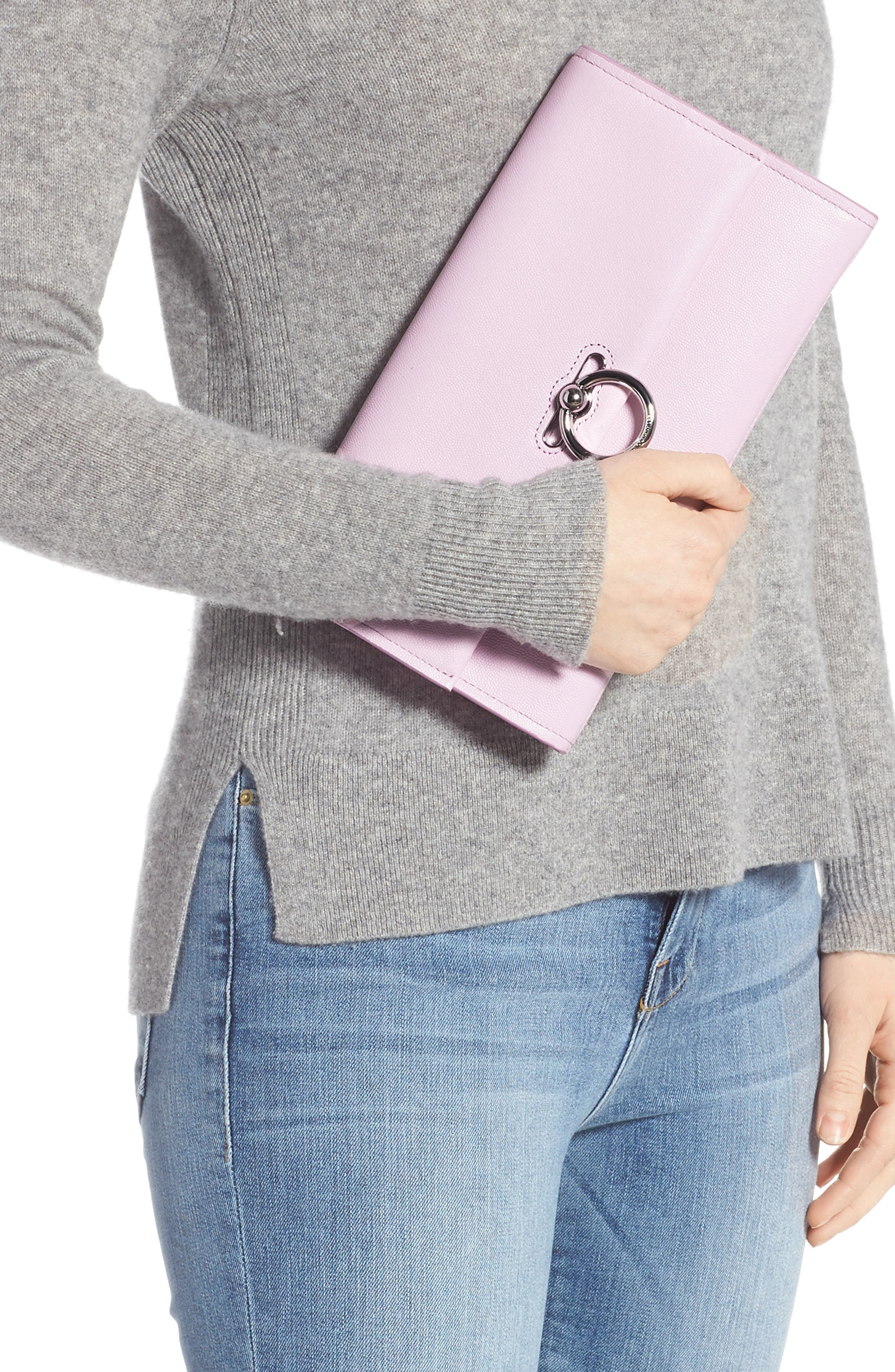 REBECCA MINKOFF, Jean Leather Clutch, Alternate thumbnail 2, color, LIGHT ORCHID