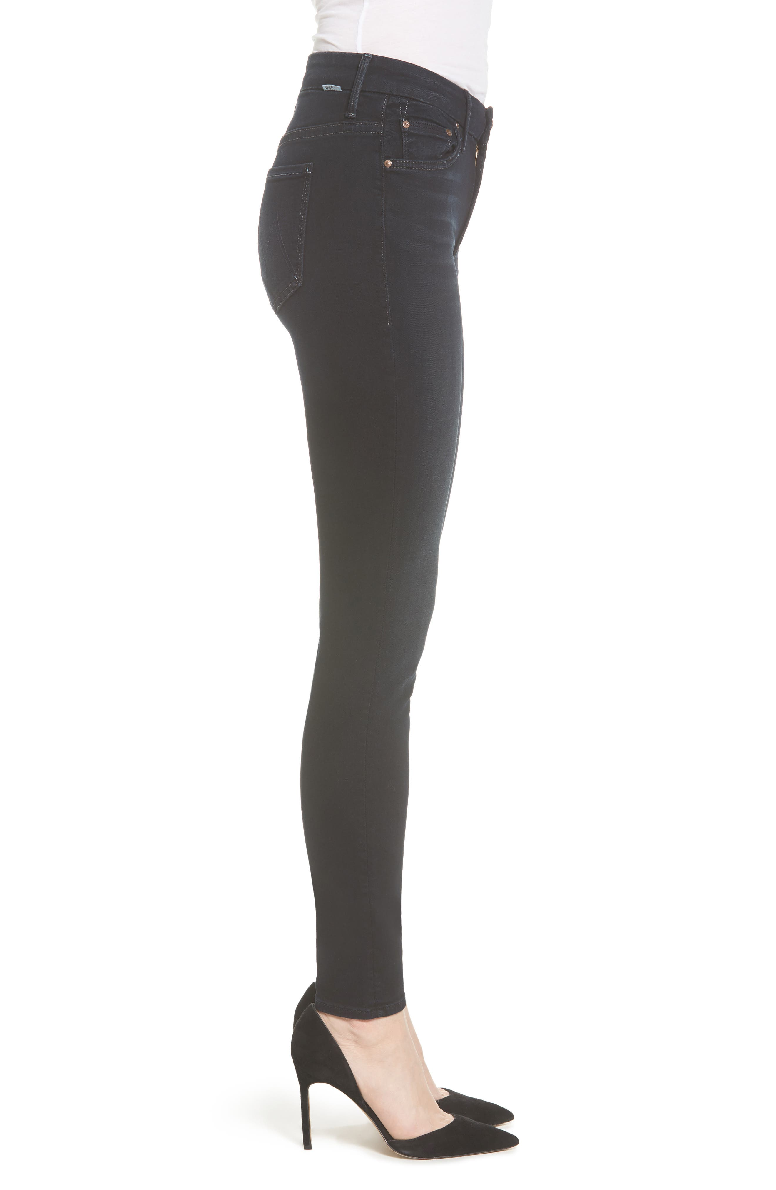 MOTHER, 'The Looker' High Rise Skinny Jeans, Alternate thumbnail 4, color, COFFEE TEA OR ME