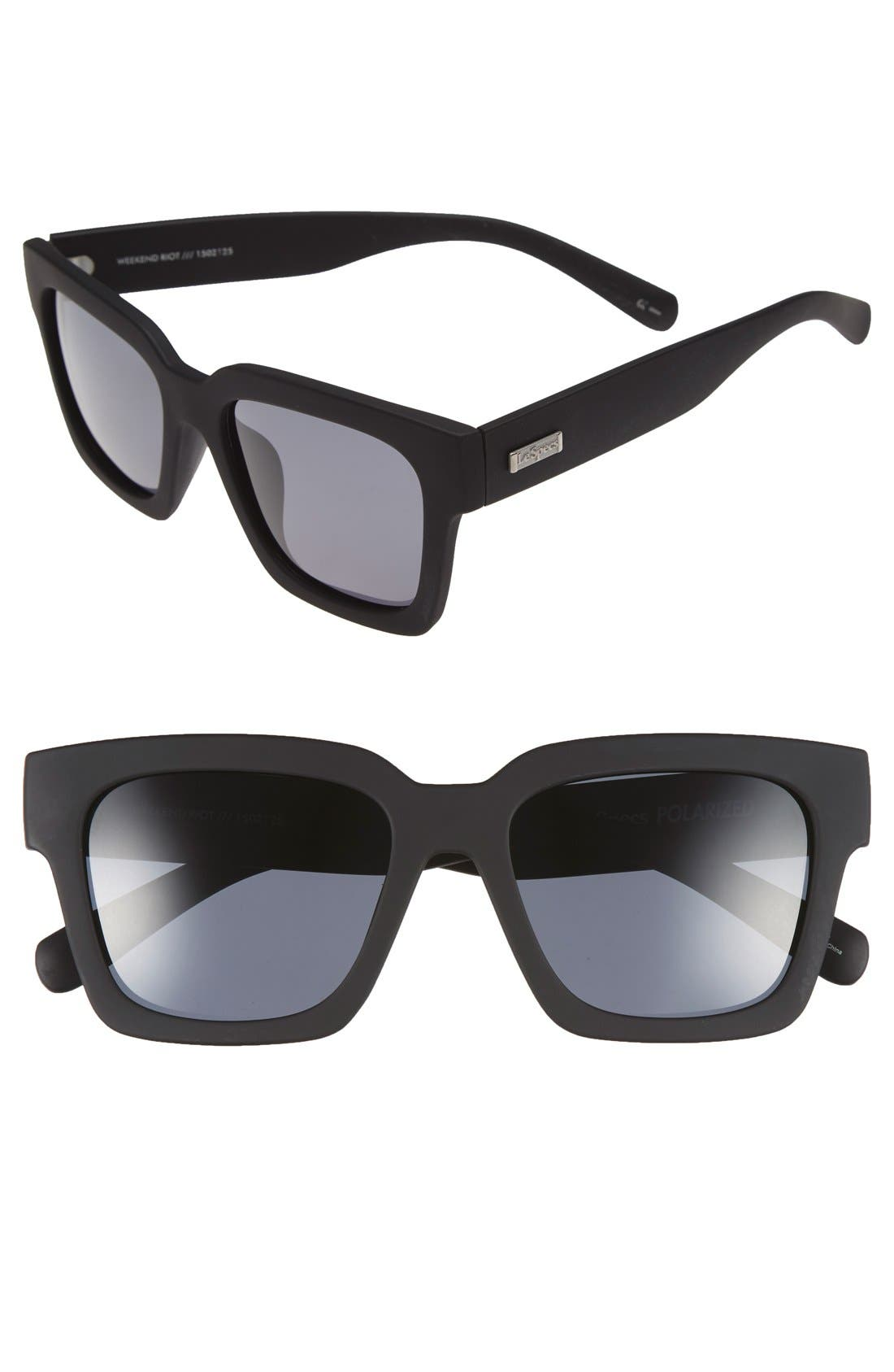 LE SPECS, 'Weekend Riot' 55mm Sunglasses, Main thumbnail 1, color, BLACK RUBBER/ SMOKE MONO POLAR