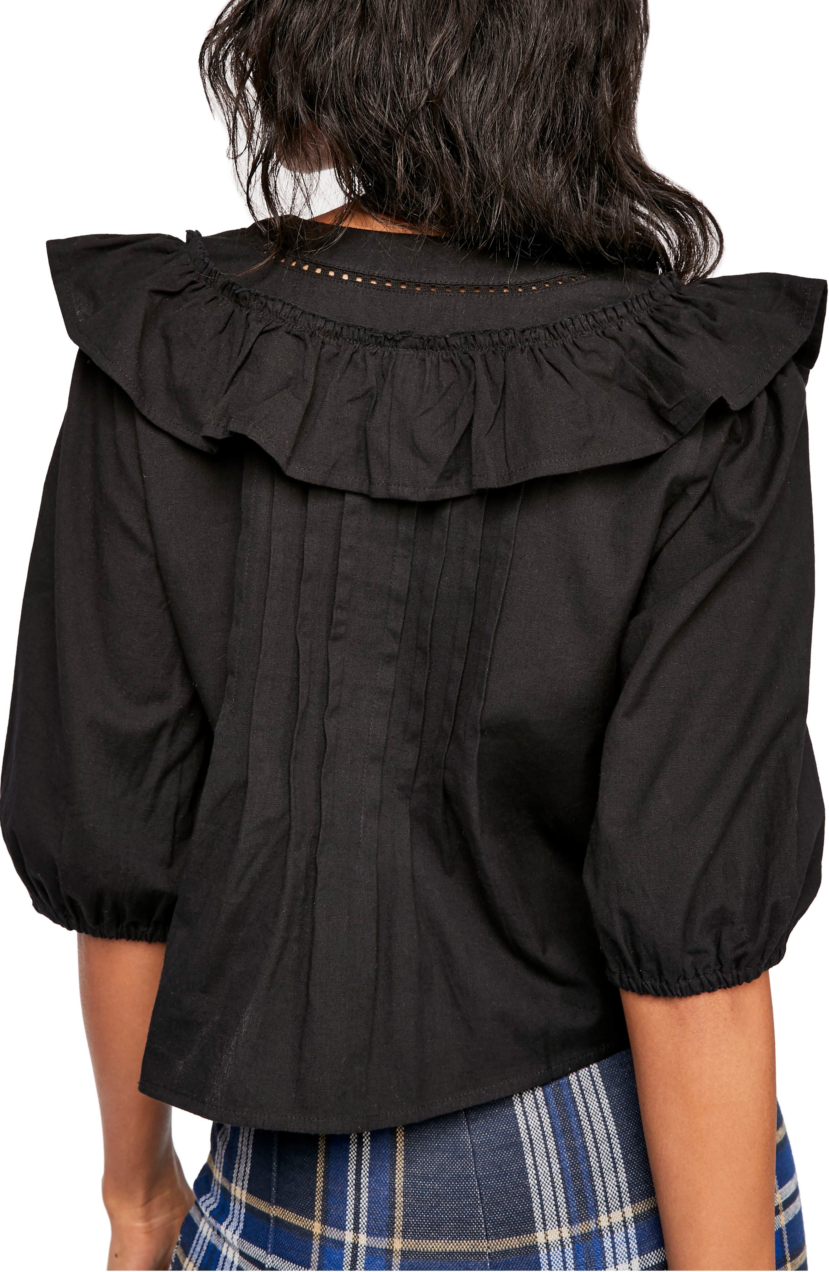 FREE PEOPLE, Endless Summer by Free People Sylvia Cotton Ruffle Blouse, Alternate thumbnail 2, color, BLACK