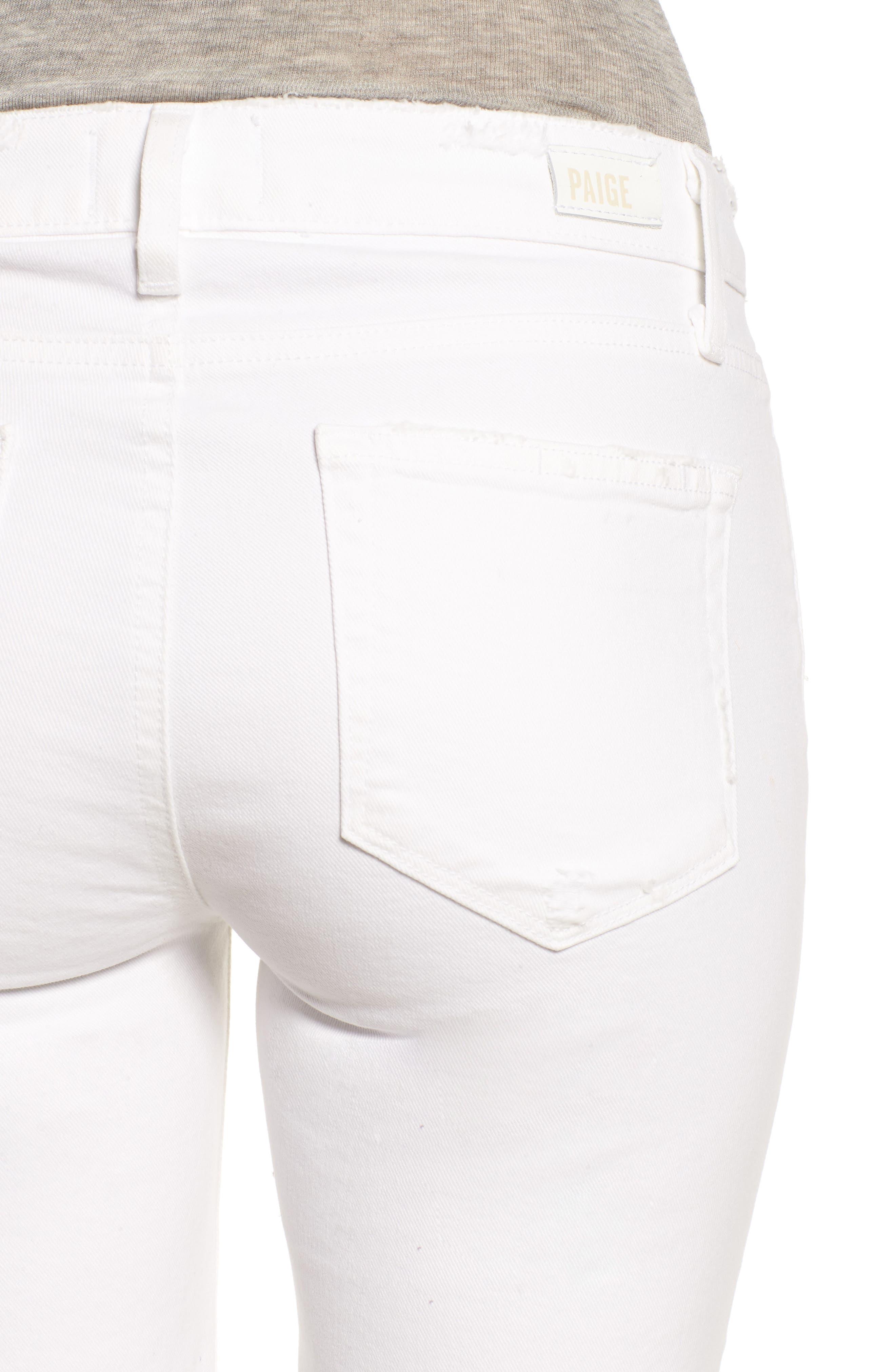 PAIGE, Skyline Raw Hem Crop Skinny Jeans, Alternate thumbnail 5, color, LIVED IN CRISP WHITE