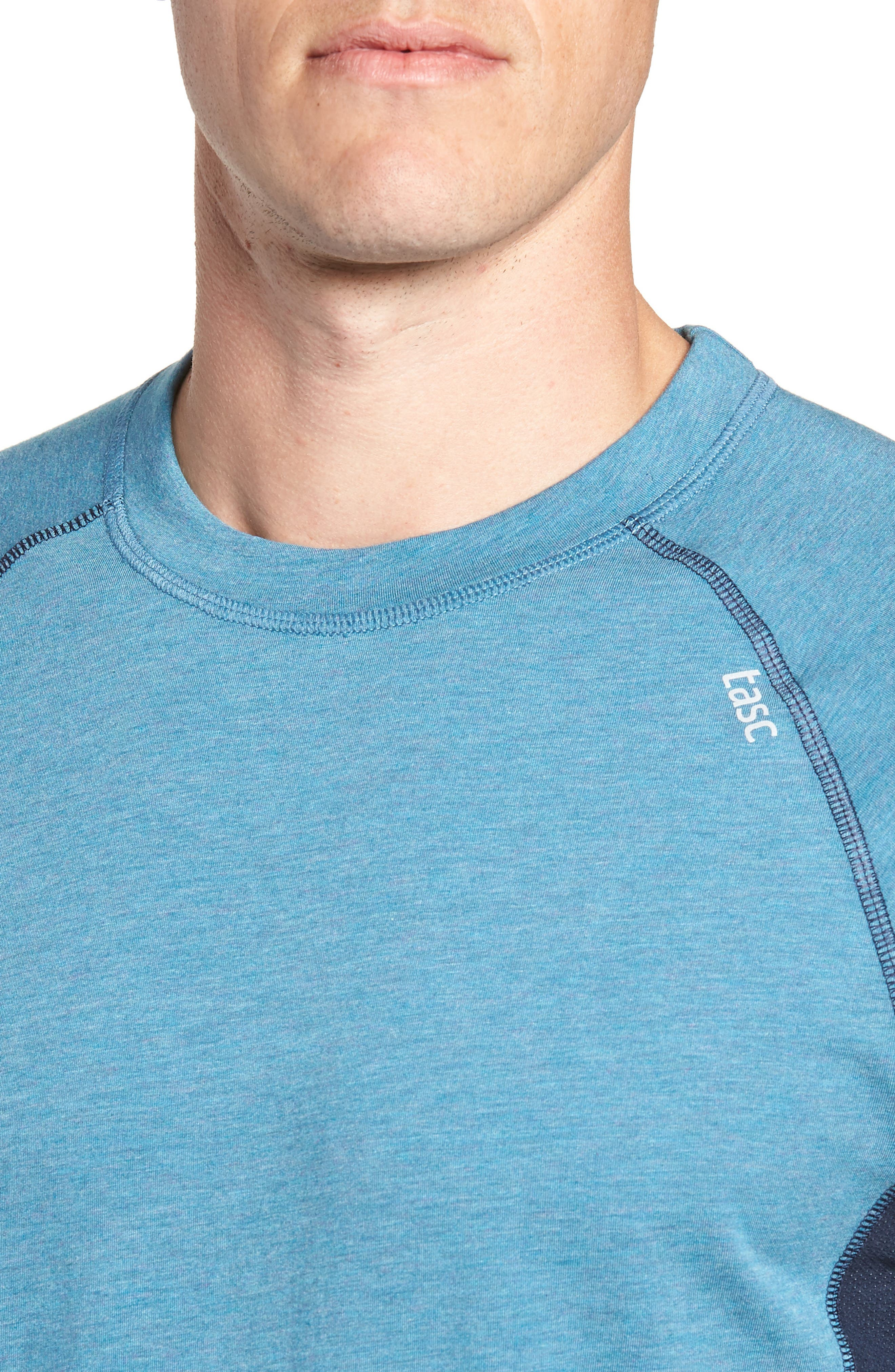 TASC PERFORMANCE, Charge II T-Shirt, Alternate thumbnail 5, color, TRANQUILITY SEA HEATHER