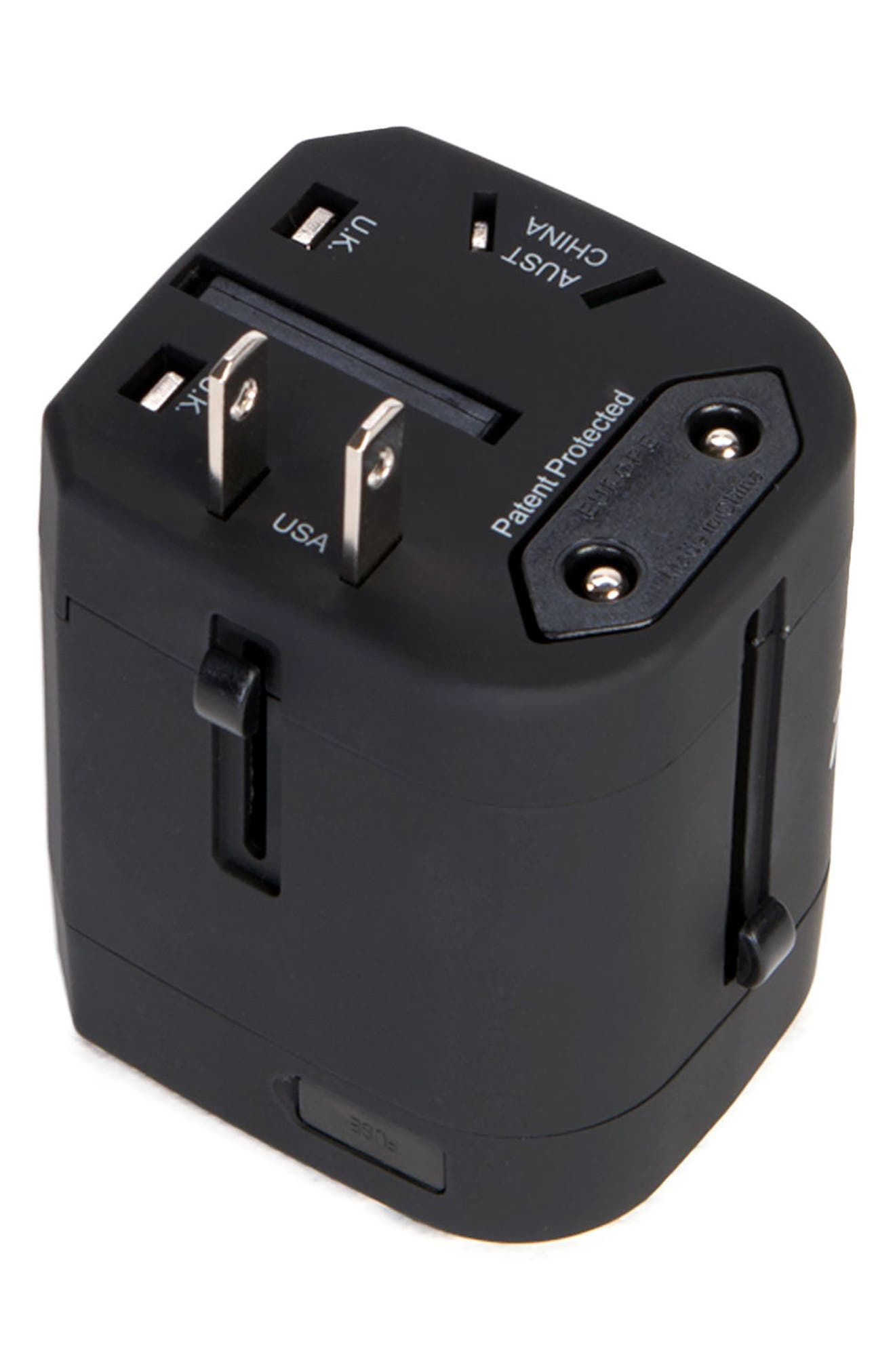 HERSCHEL SUPPLY CO., Travel Outlet Adapter, Alternate thumbnail 2, color, BLACK