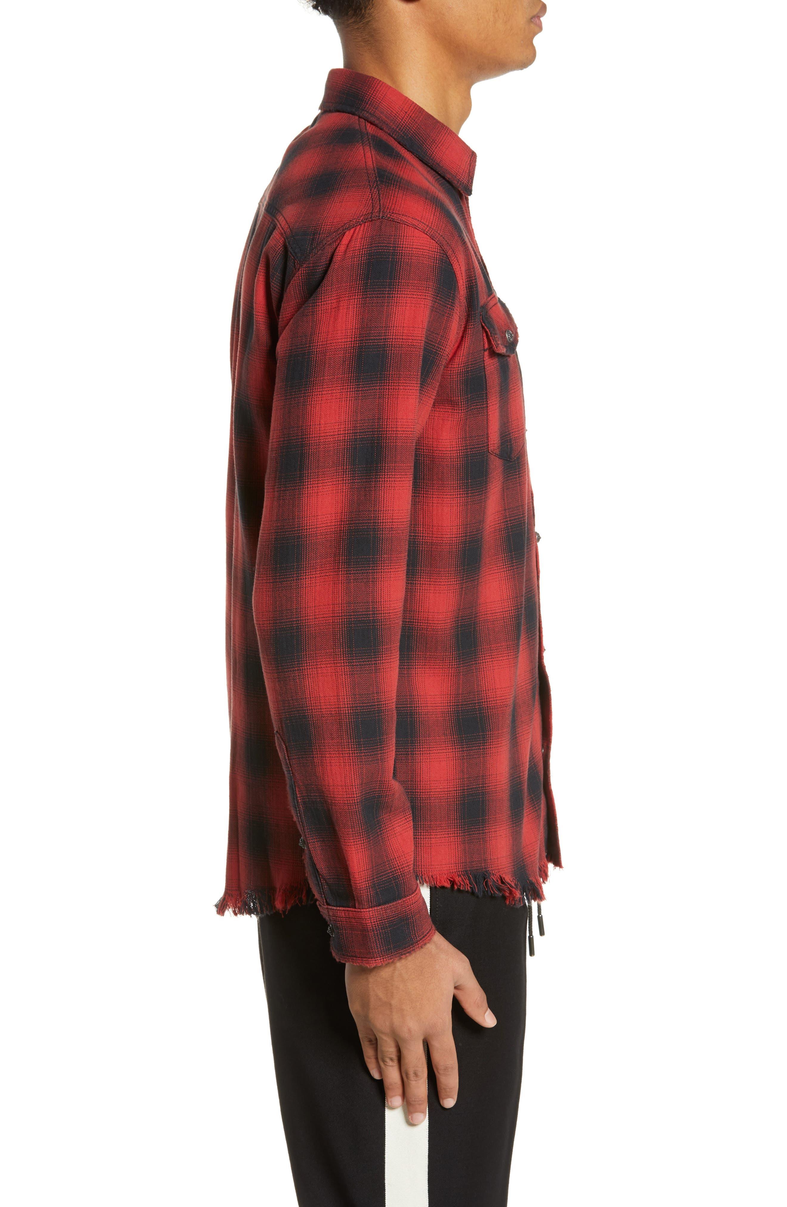 THE KOOPLES, Regular Fit Ombré Plaid Shirt, Alternate thumbnail 4, color, RED / BLACK