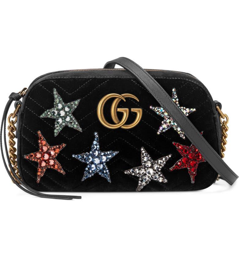 702390eb562 Gucci Small GG Marmont 2.0 Crystal Stars Velvet Shoulder Bag