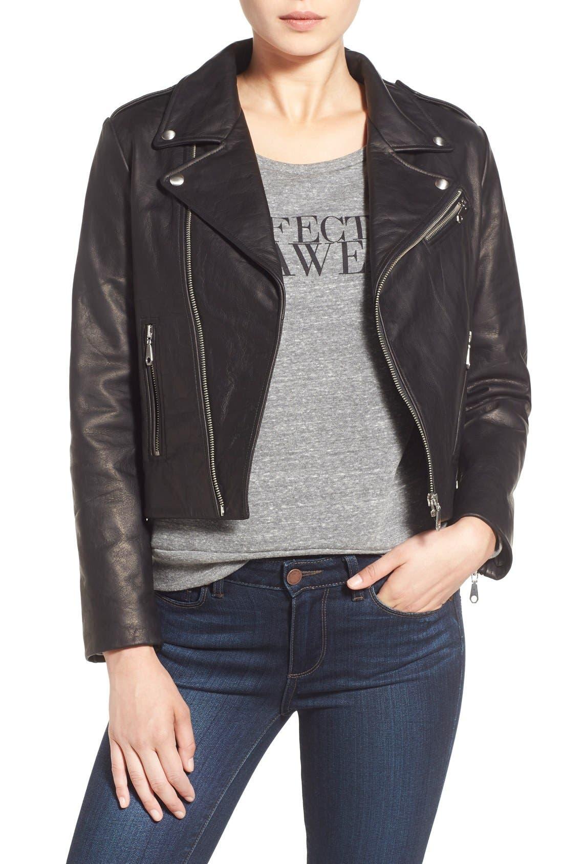 REBECCA MINKOFF, 'Nana' Leather Moto Jacket, Main thumbnail 1, color, 001