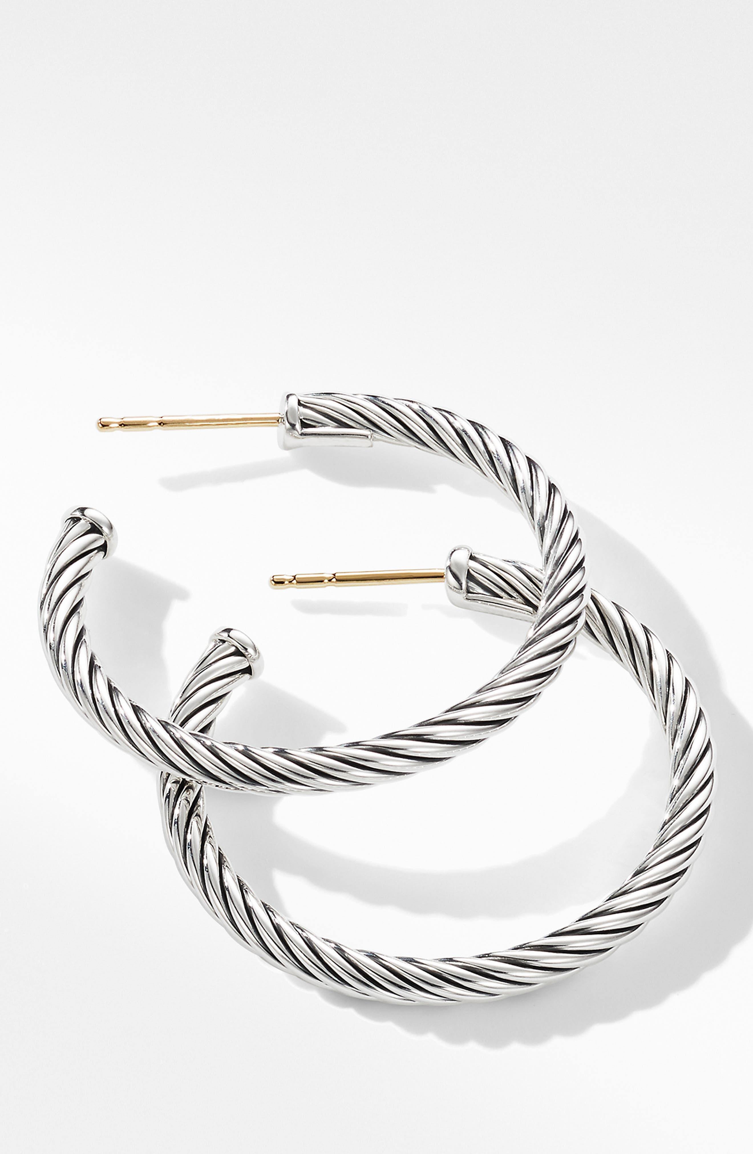 DAVID YURMAN, Cable Loop Hoop Earrings, Alternate thumbnail 2, color, SILVER