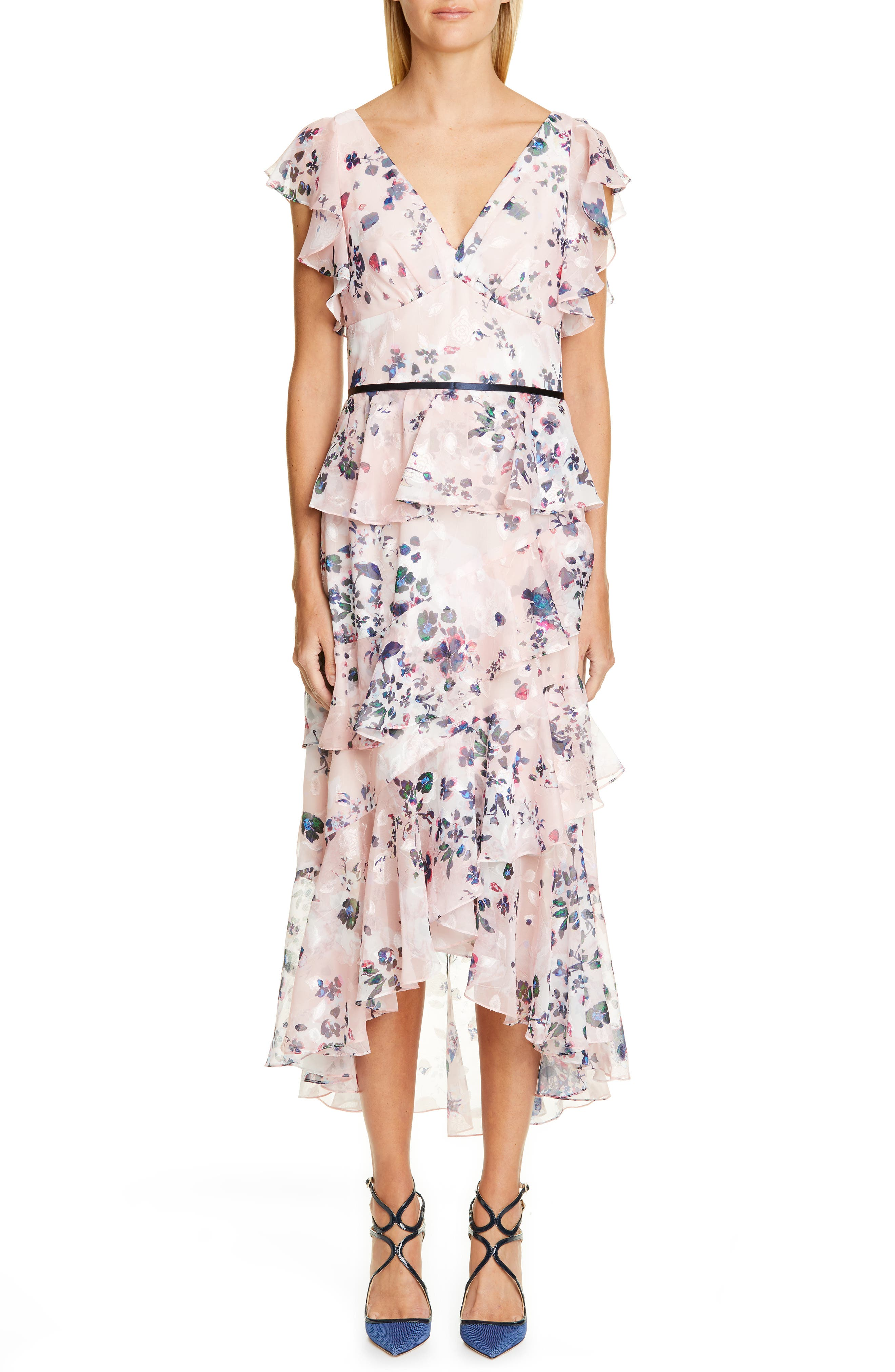 MARCHESA NOTTE Floral Ruffle Tiered Midi Dress, Main, color, 680