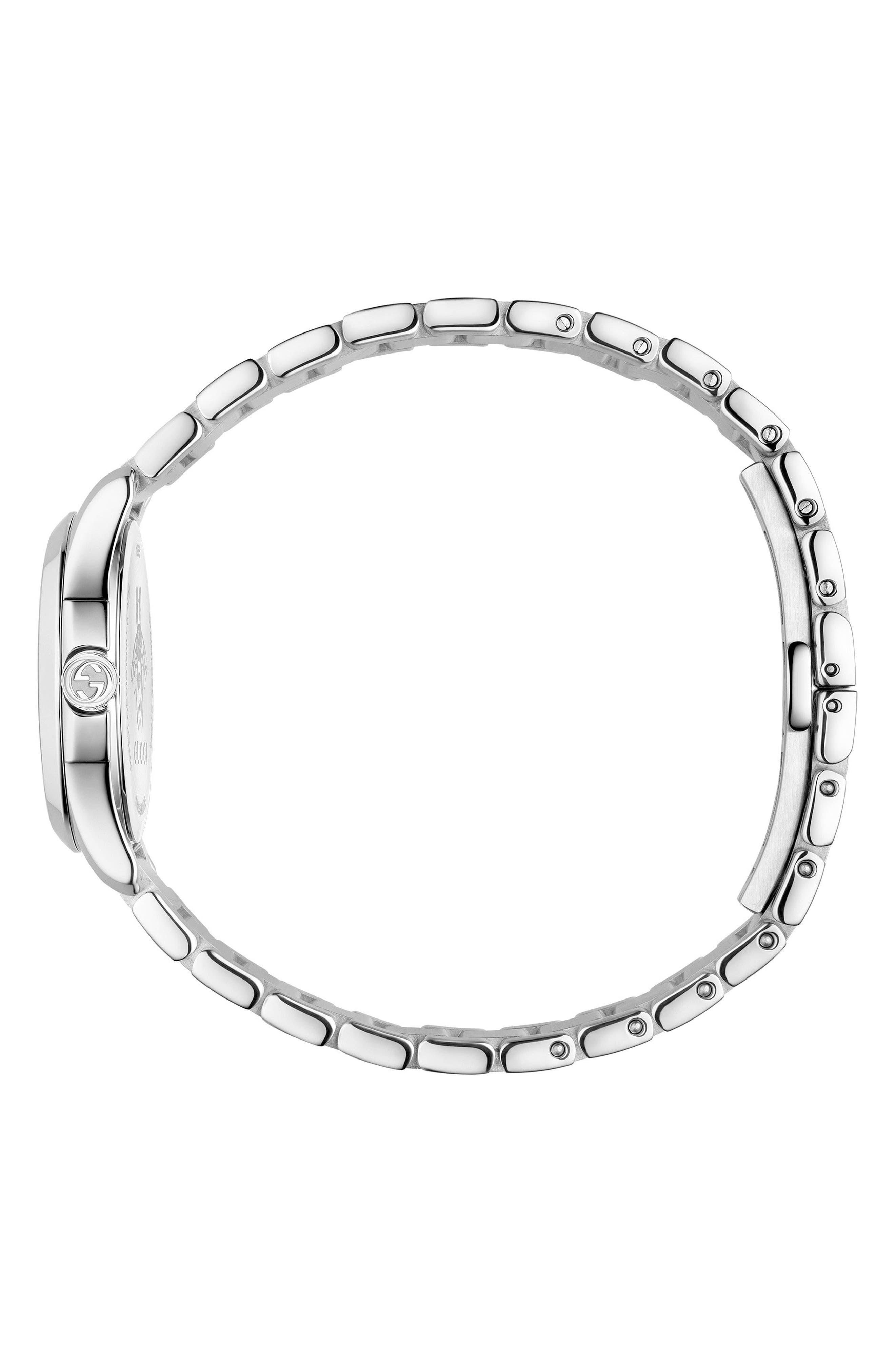 GUCCI, G-Timeless Bracelet Watch, 27mm, Alternate thumbnail 3, color, SILVER