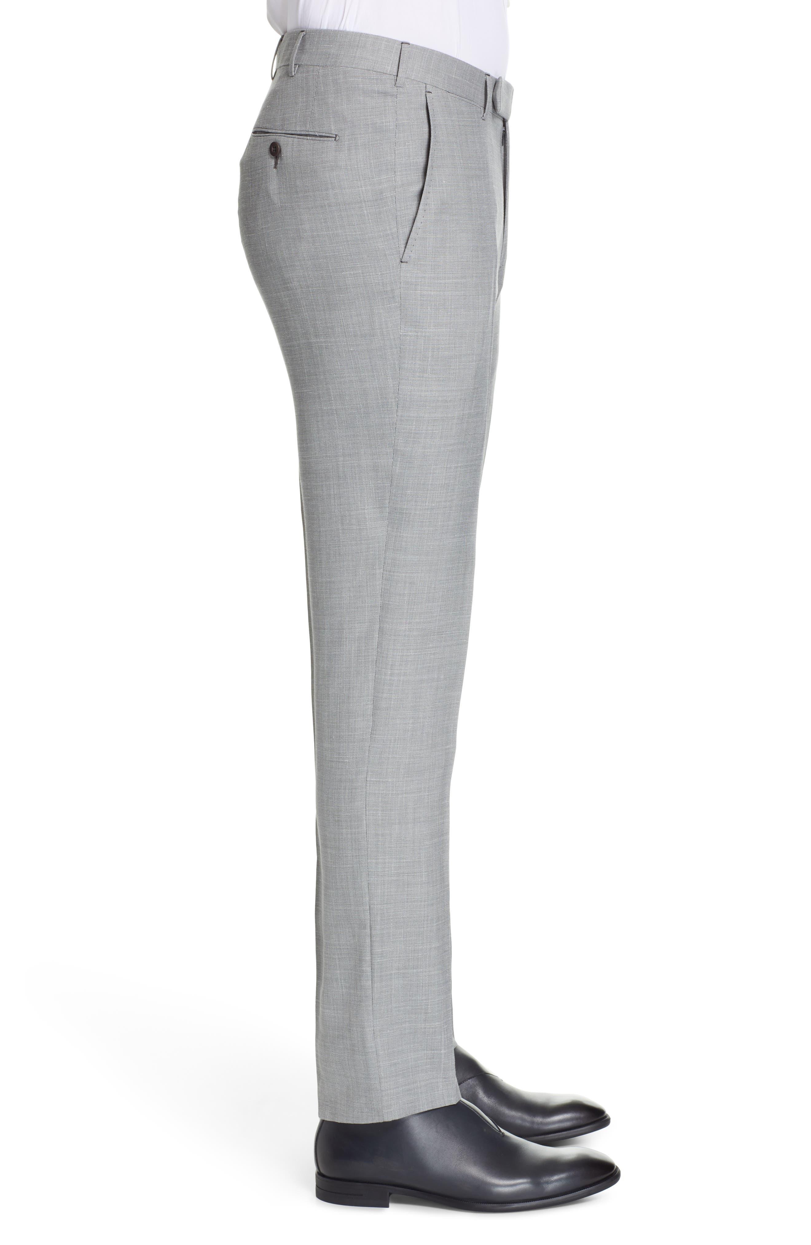 ERMENEGILDO ZEGNA, Trofeo Flat Front Solid Wool Blend Trousers, Alternate thumbnail 3, color, LIGHT GREY