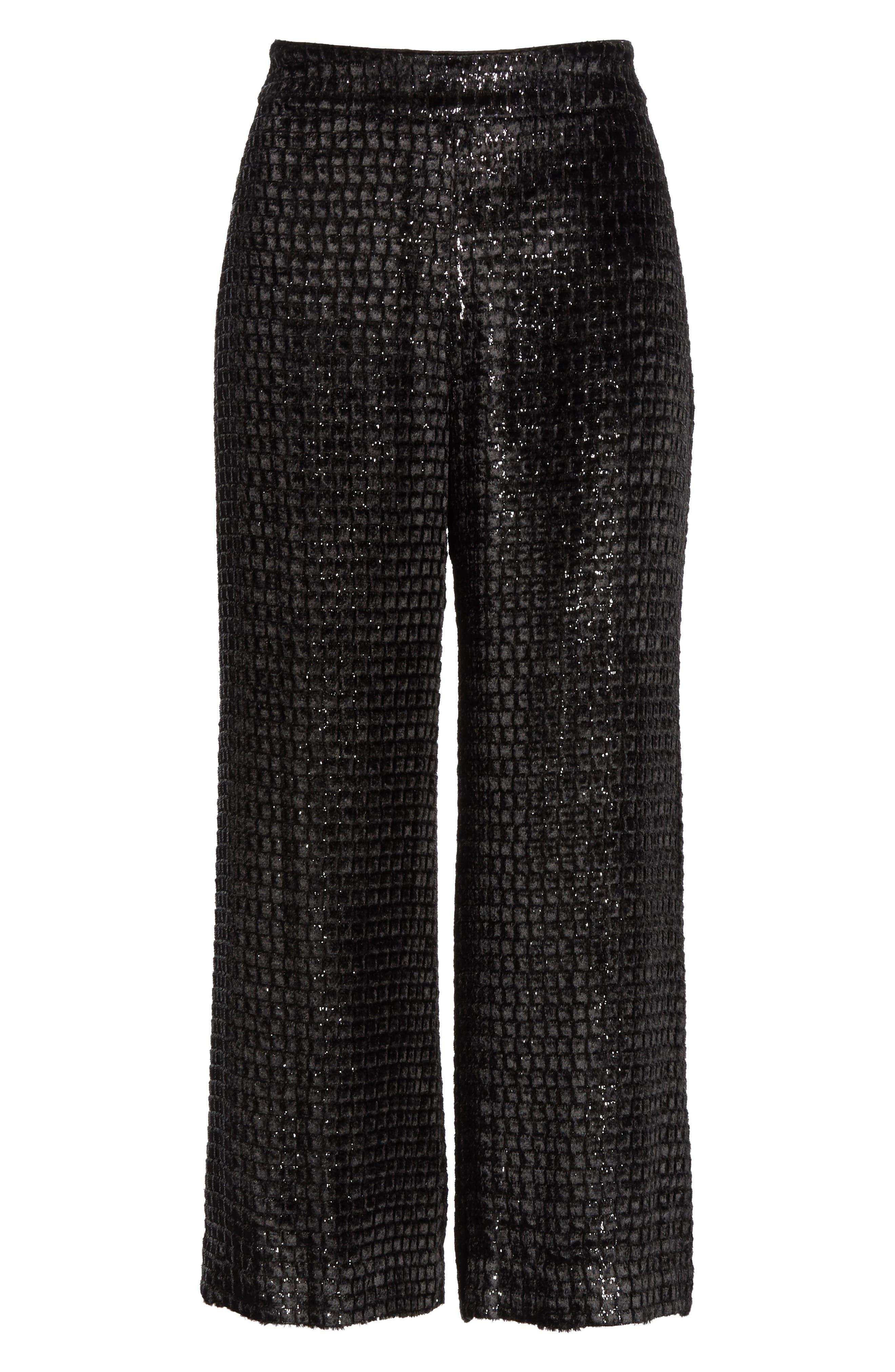 BRANDON MAXWELL, Metallic Velvet Crop Wide Leg Pants, Alternate thumbnail 6, color, BLACK